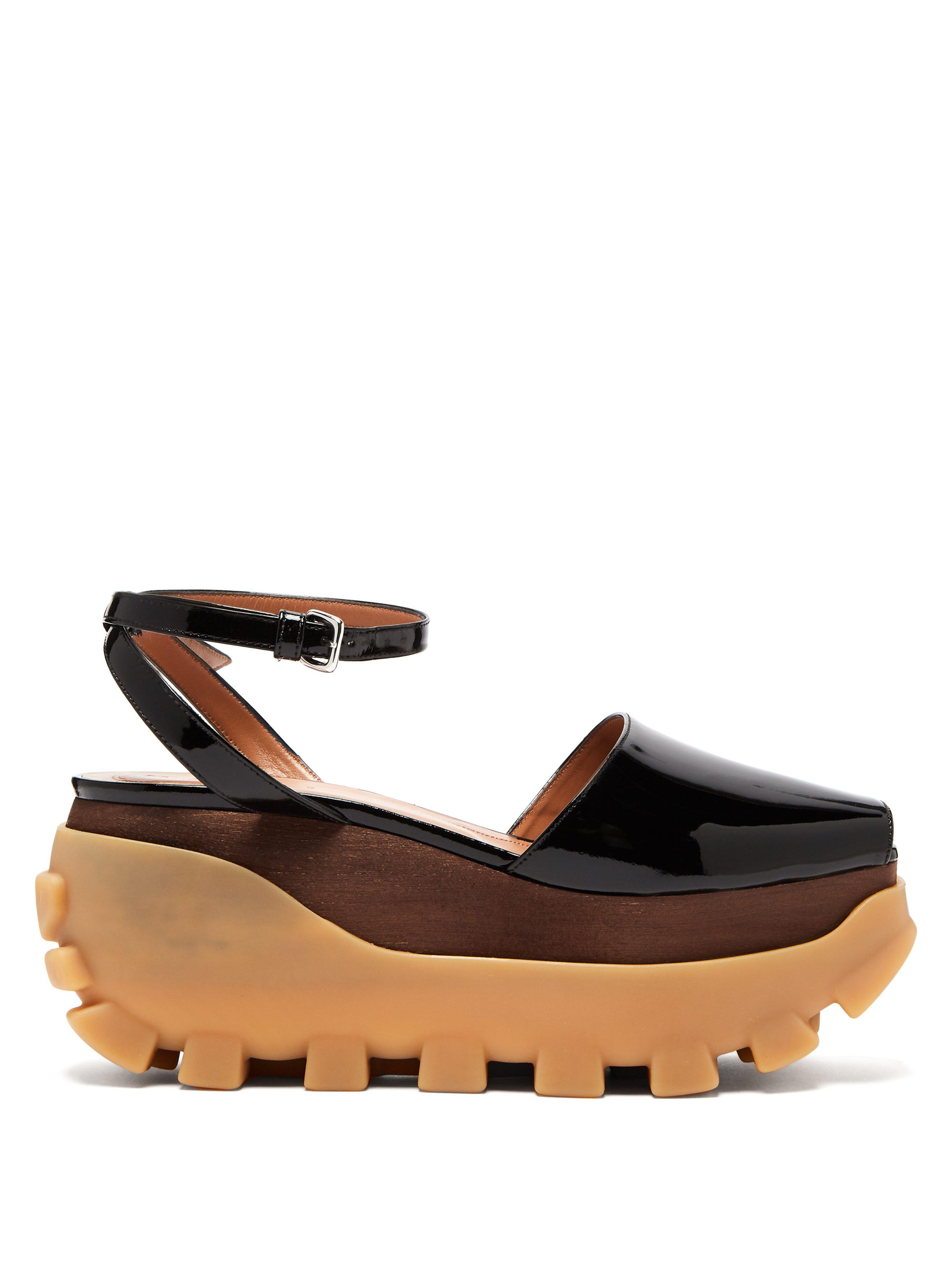 46c40974a396 Marni Wooden Flatform Sandals in Black - Lyst