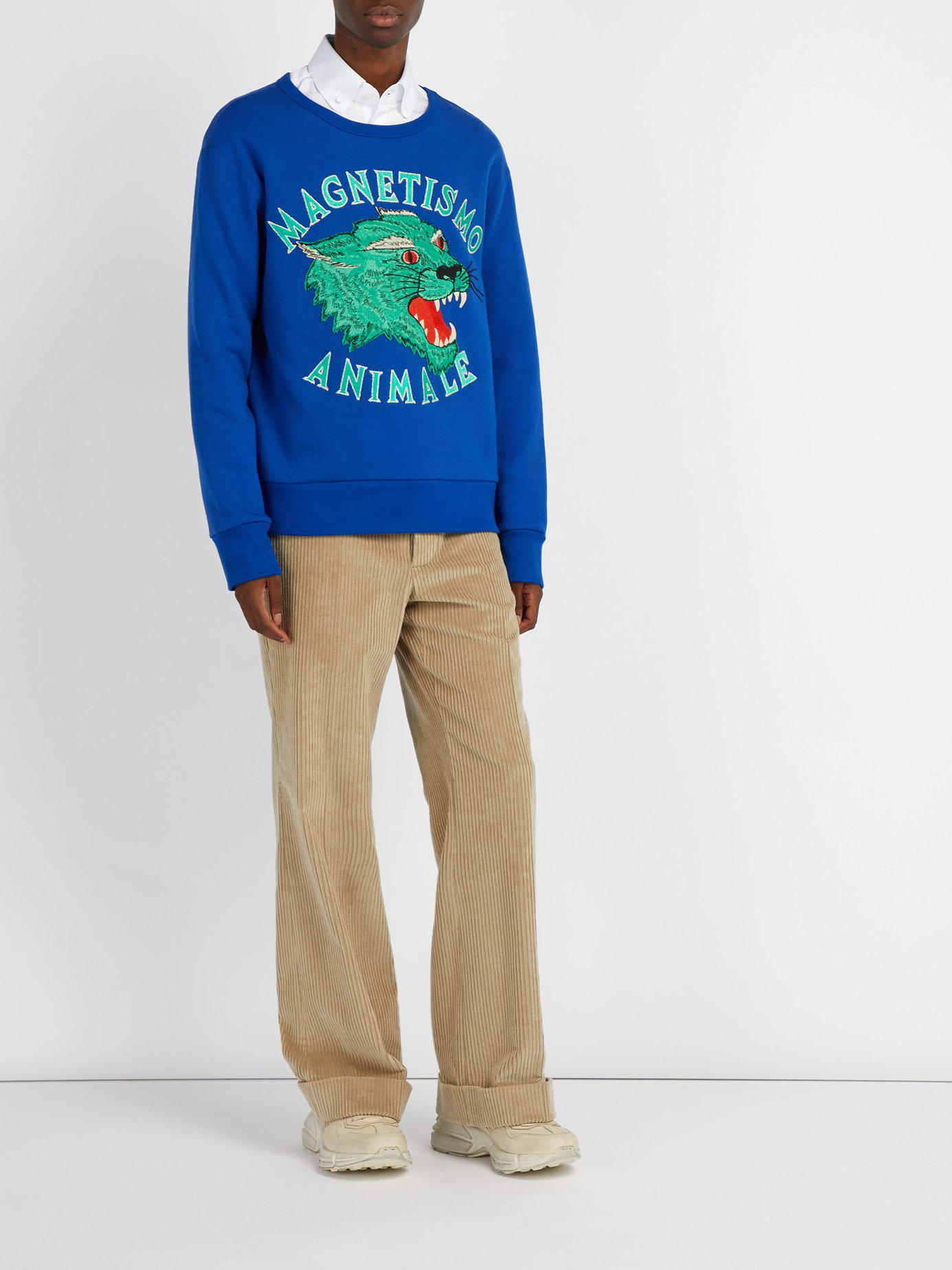 26b184b5d98 Gucci Panther Embroidered Cotton Sweatshirt in Blue for Men - Lyst