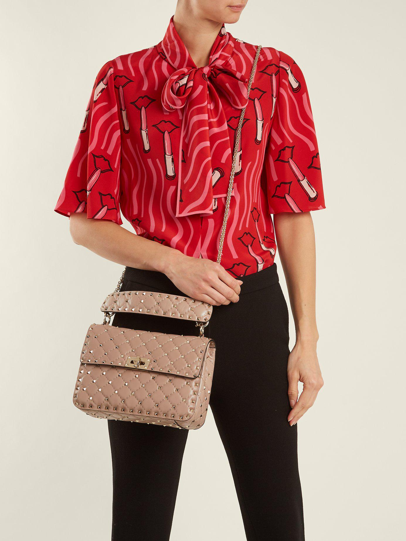 d1ce7111b389 Valentino - Multicolor Rockstud Spike Medium Quilted Leather Shoulder Bag -  Lyst. View fullscreen