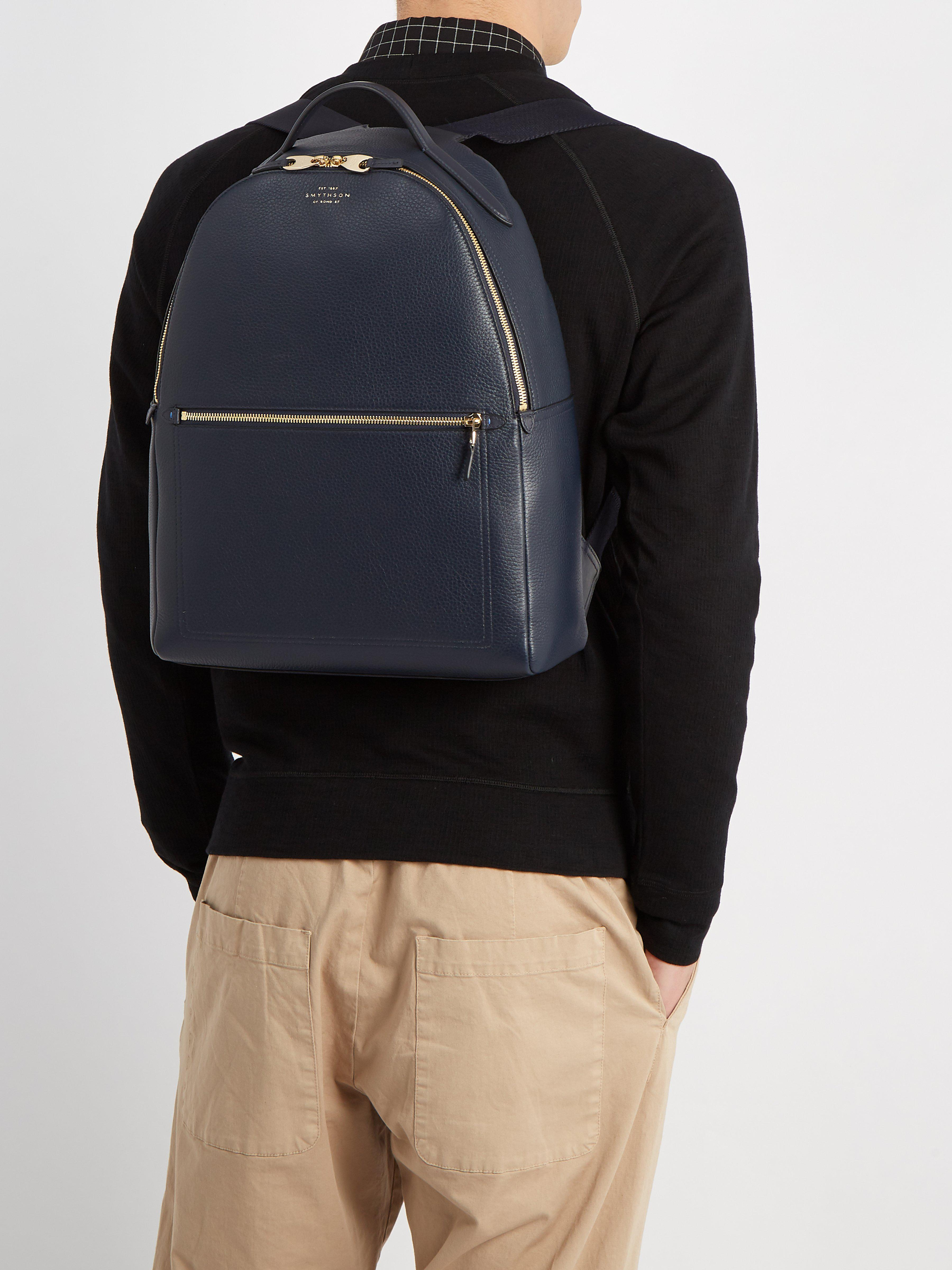 Smythson - Blue Burlington Leather Backpack for Men - Lyst. View fullscreen fb1750e47c