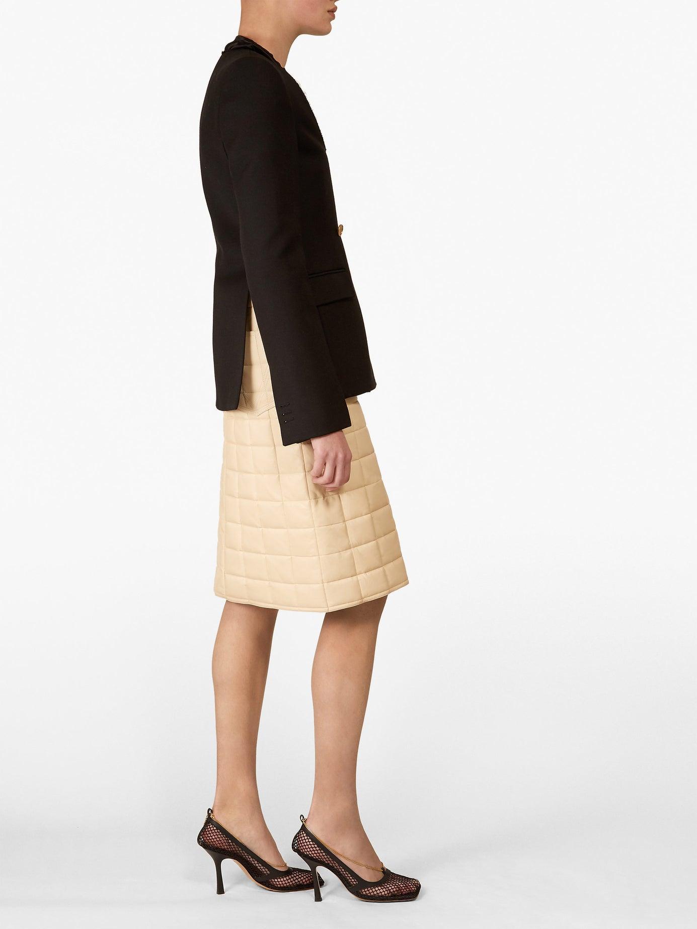 1d54fd774 Bottega Veneta High Rise Quilted Leather Skirt in White - Lyst