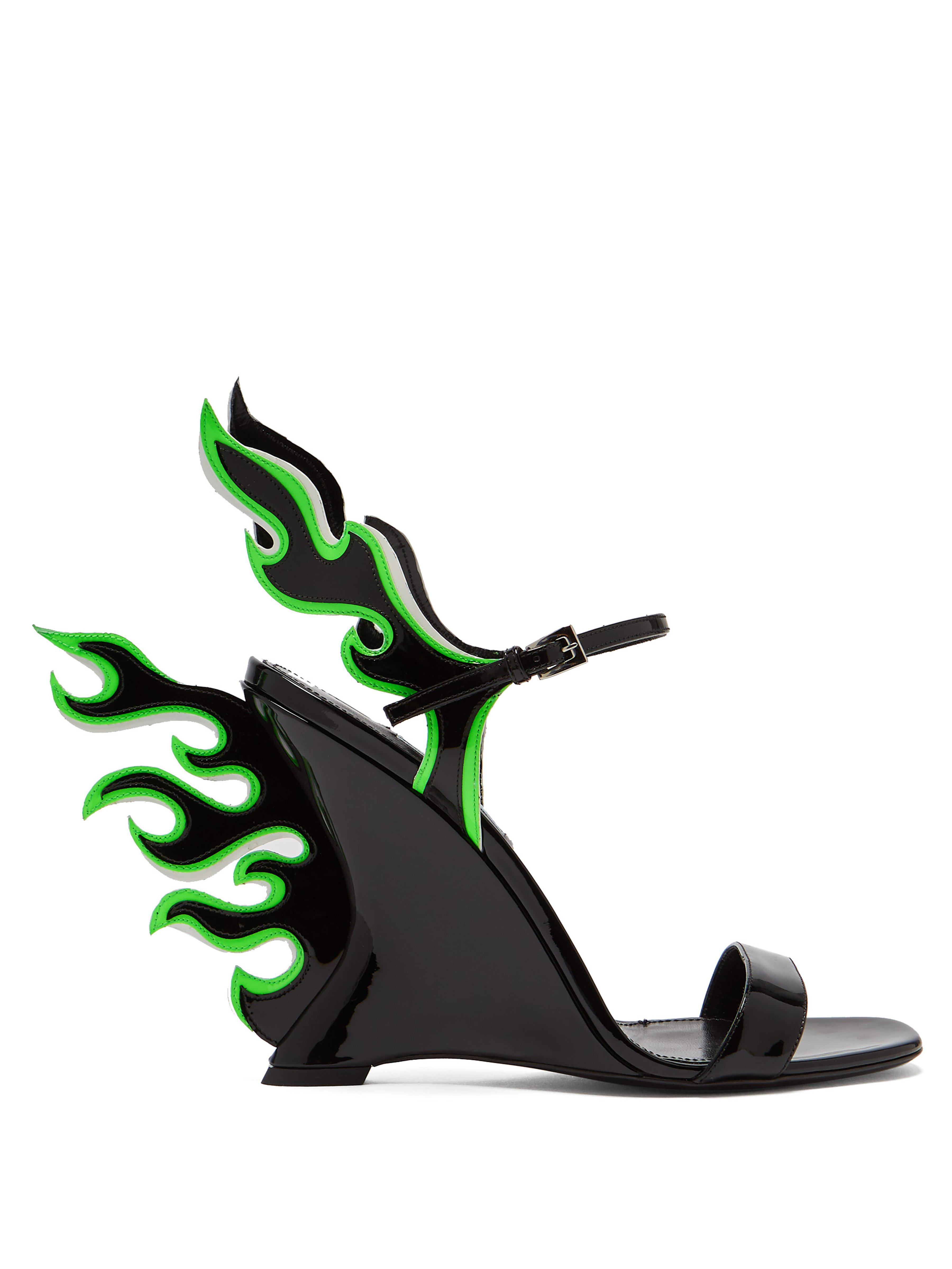 3ae09d38d707 Prada Flame Patent-leather Sandals in Green - Lyst