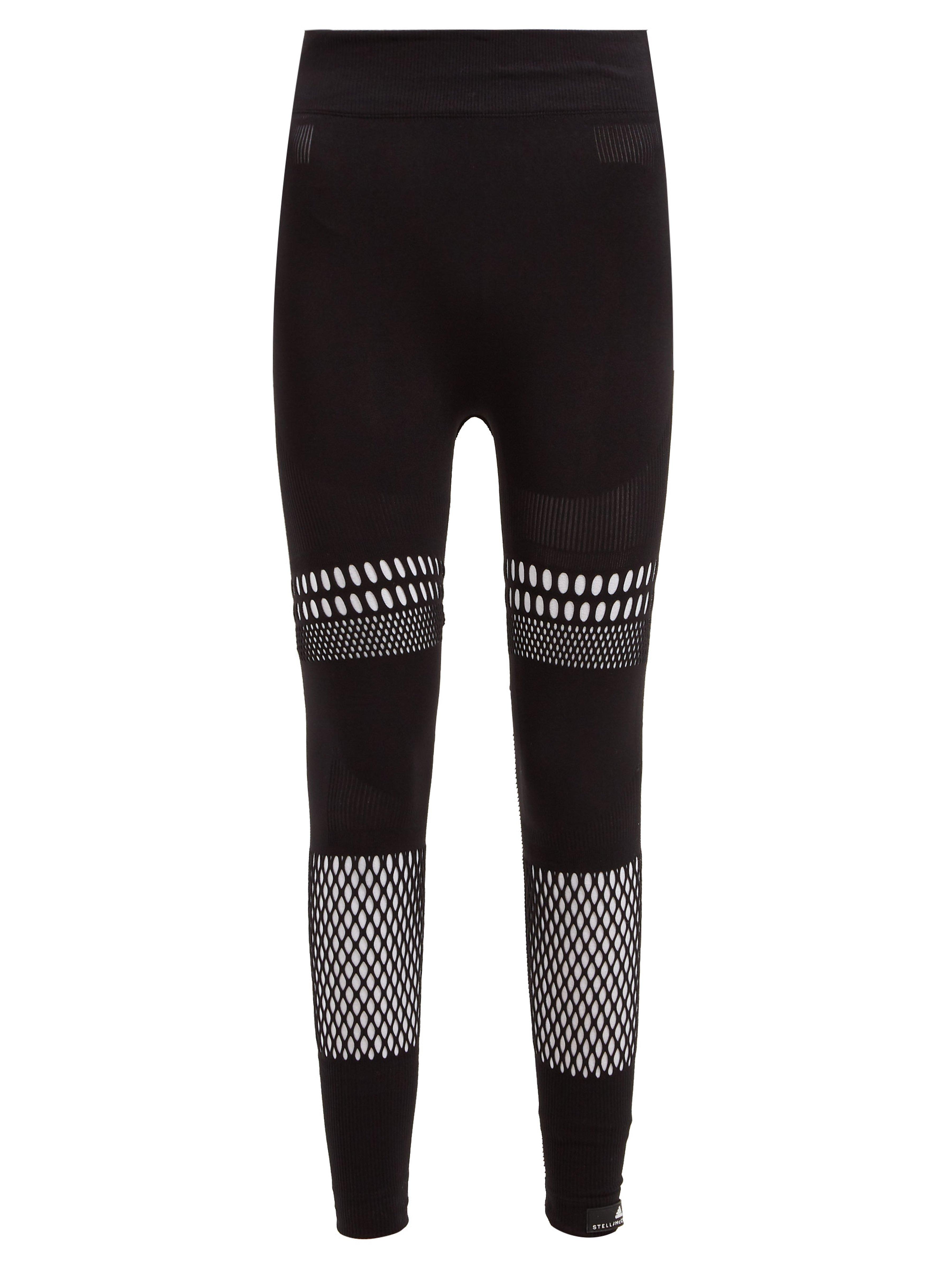 51f4fbbbe4b82 adidas By Stella McCartney Warp Knit Laser Cut Leggings in Black - Lyst