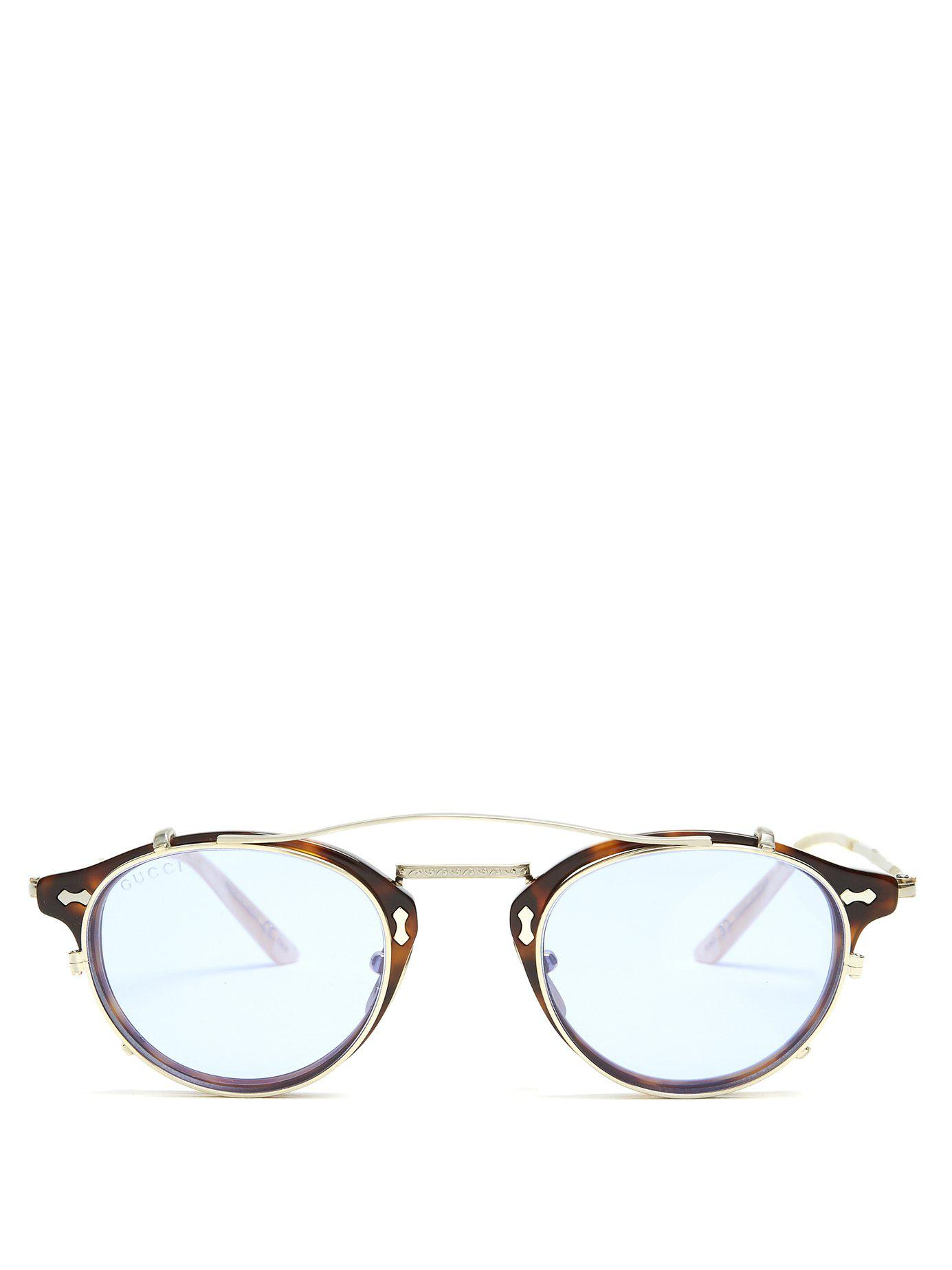5278f3181c9 Lyst - Gucci Detachable Lens Round Frame Acetate Sunglasses in Brown ...