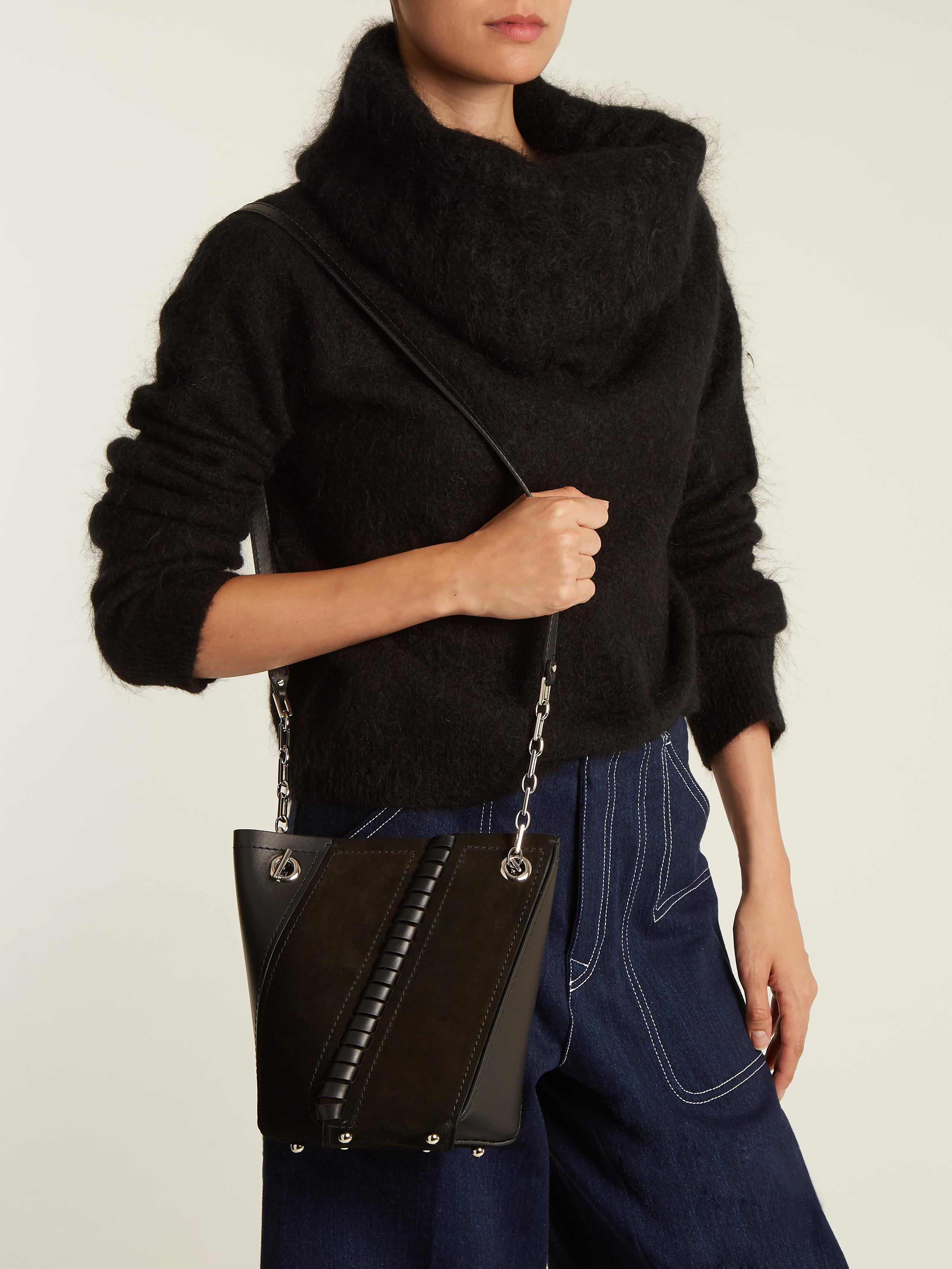 87dfd0d82 Proenza Schouler Hex Mini Suede And Leather Bucket Bag in Black - Lyst