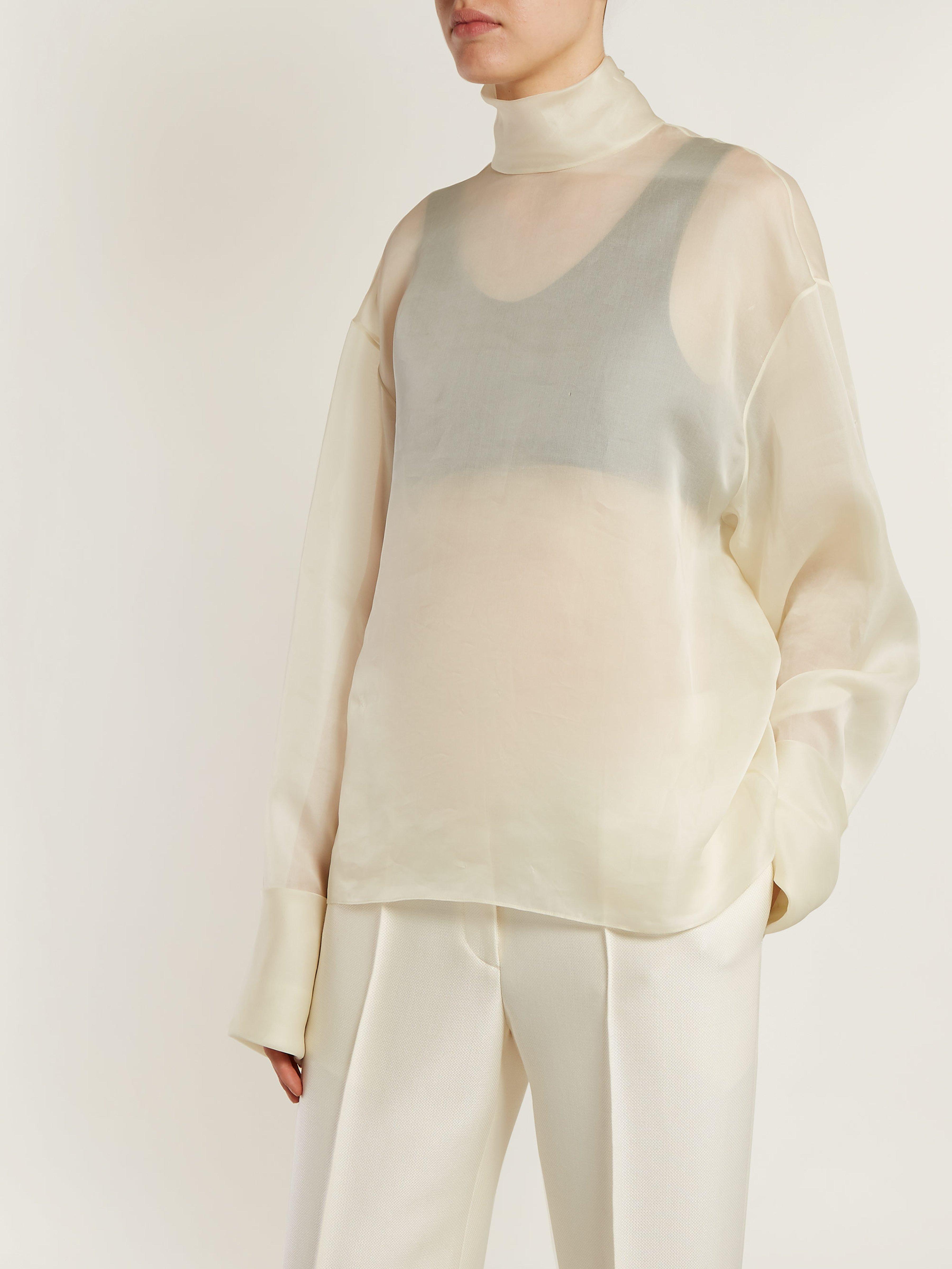 9abf8e89daf5b The Row Karlee Silk Organza Blouse in White - Lyst