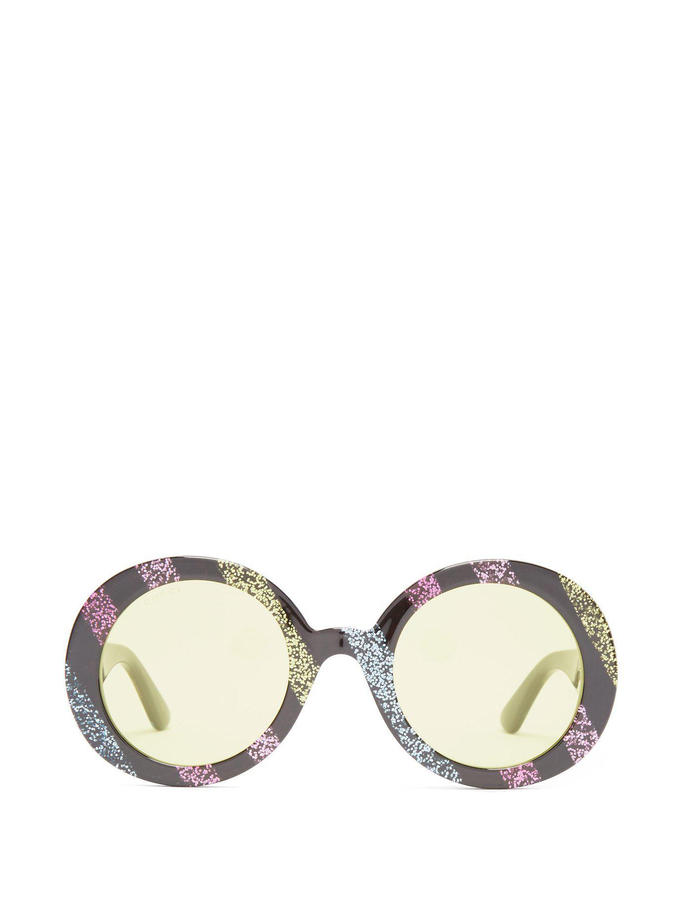 51c4ec8b6 Gucci. Women's Round Frame Glitter Acetate Sunglasses