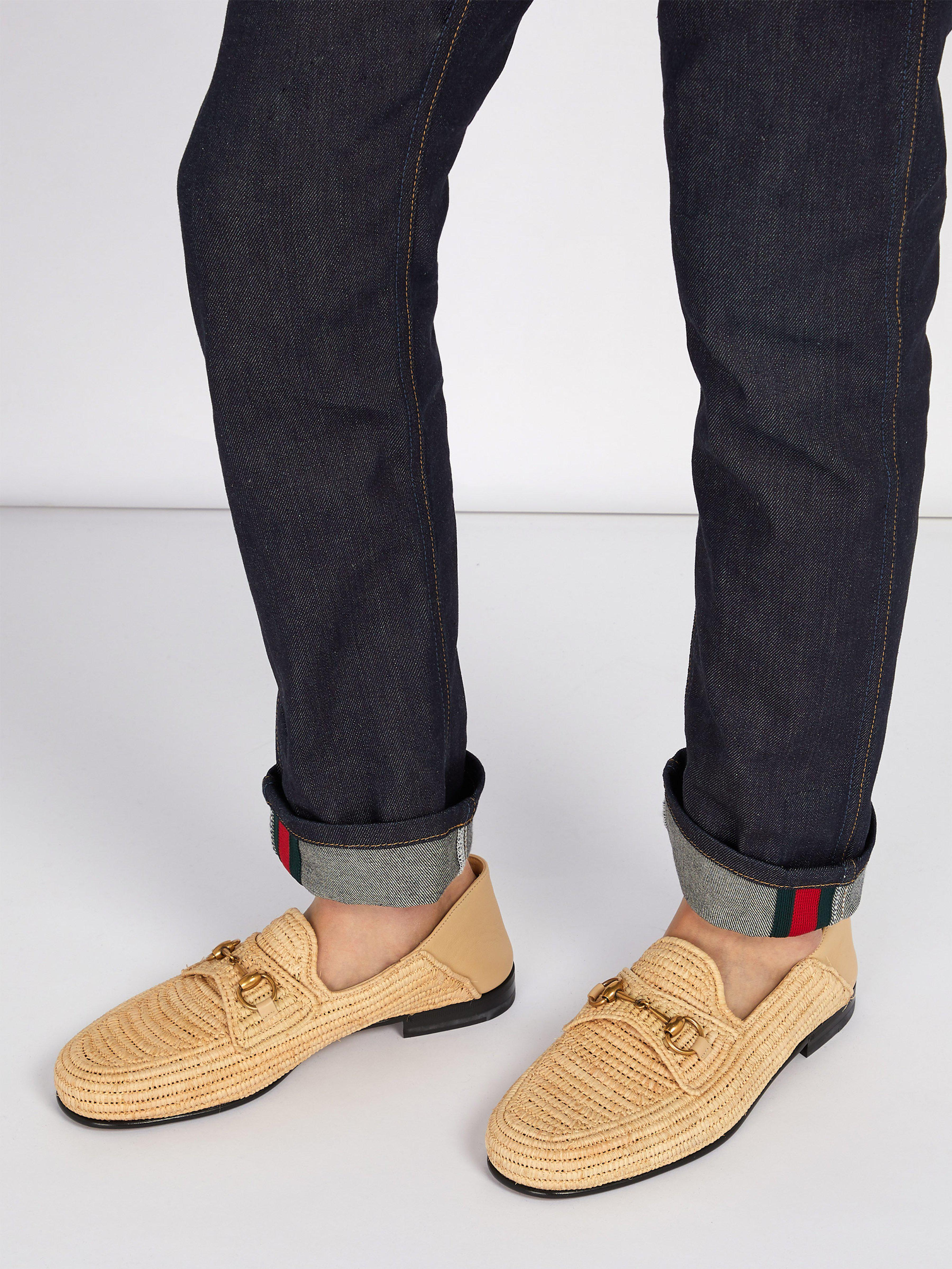 88eb971fd9d Gucci Easy Roos Straw Loafers in Brown for Men - Lyst