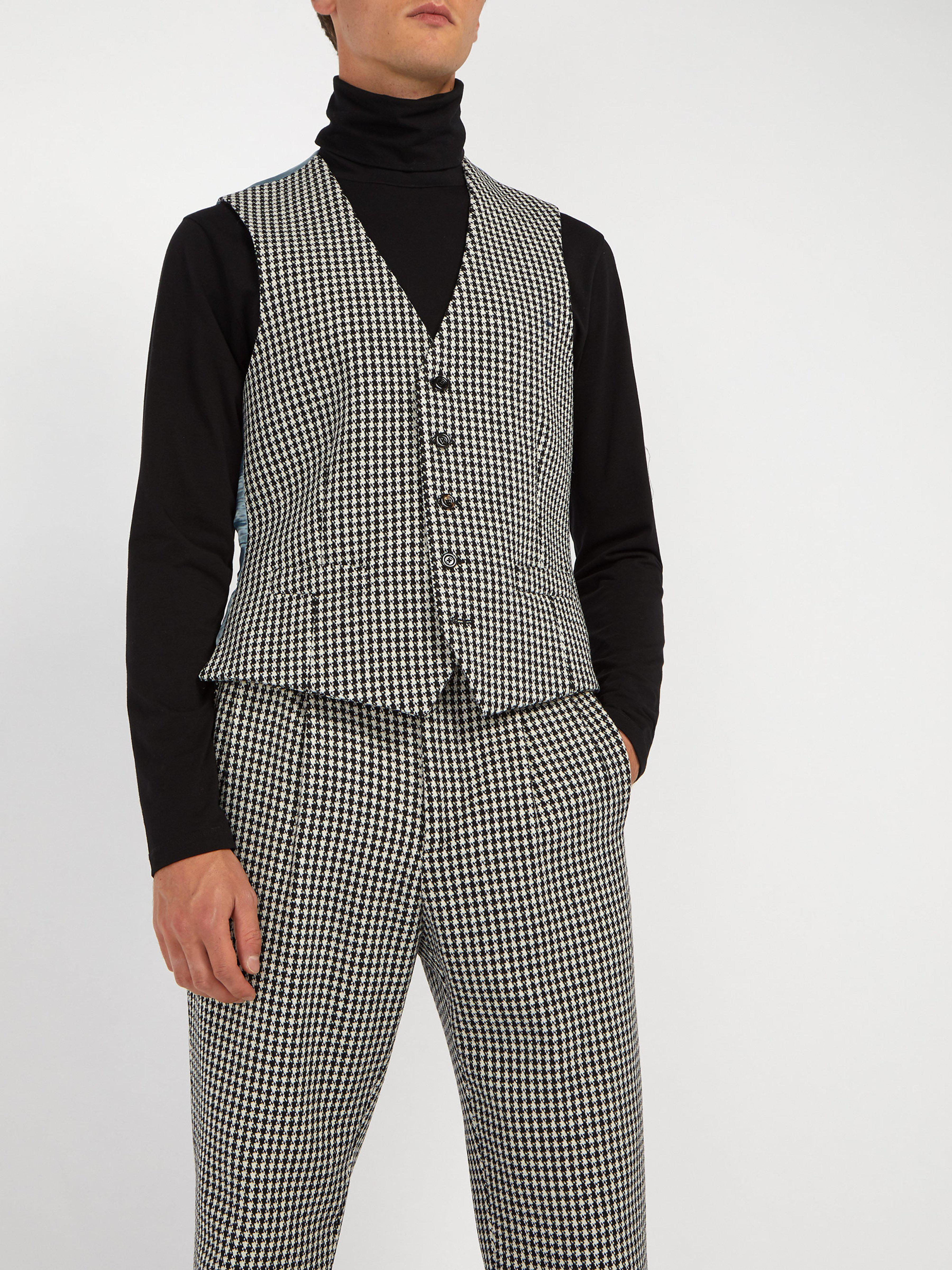 bd39727eb Gucci Houndstooth Wool Blend Waistocat in Black for Men - Lyst