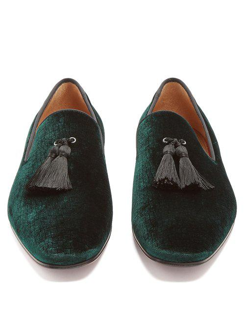 ad06a891043b Lyst - Christian Louboutin Stampato Reptile-effect Velvet Loafers in ...