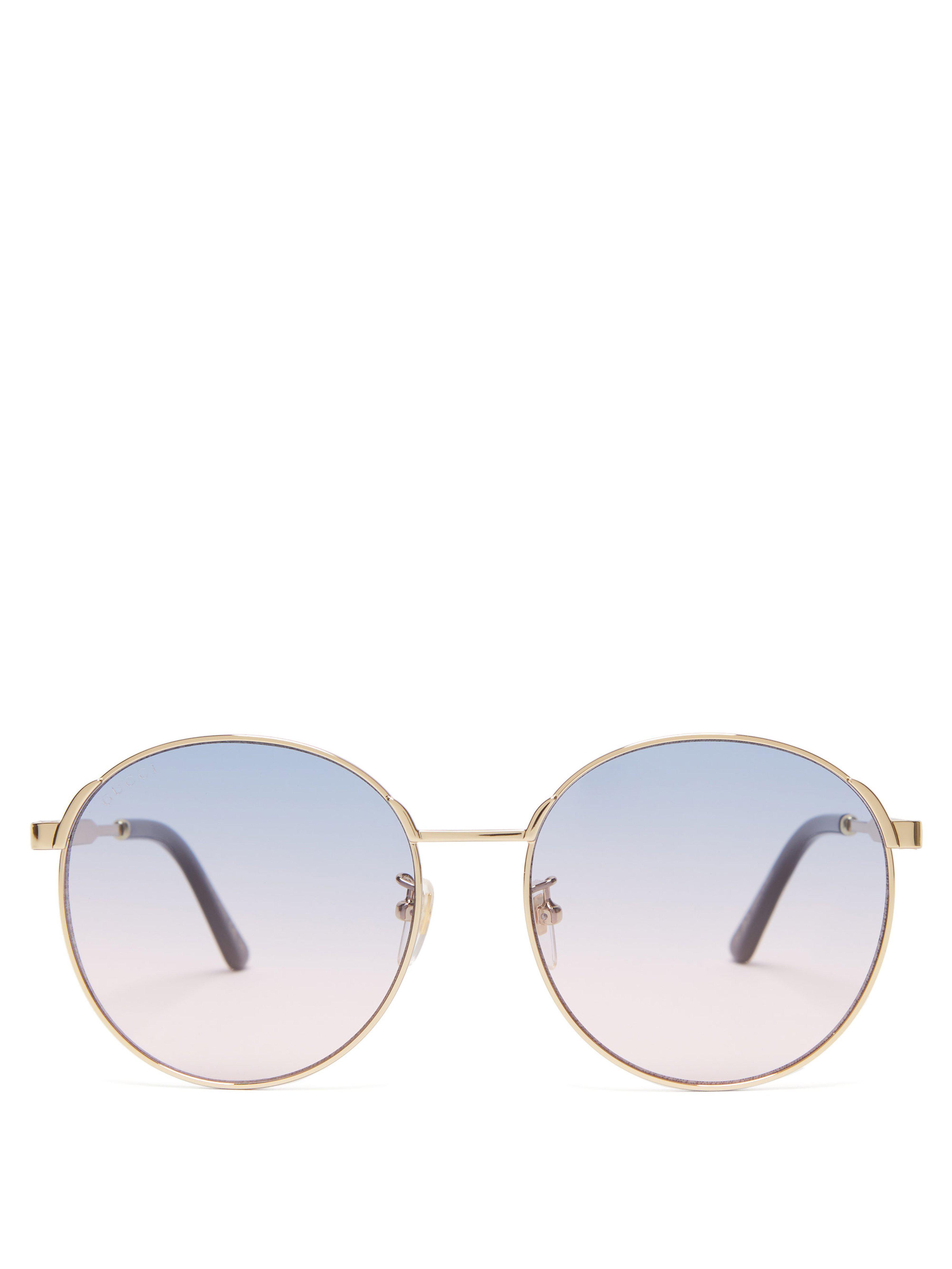73f9b2dca1a Gucci Round Frame Sunglasses in Purple - Lyst