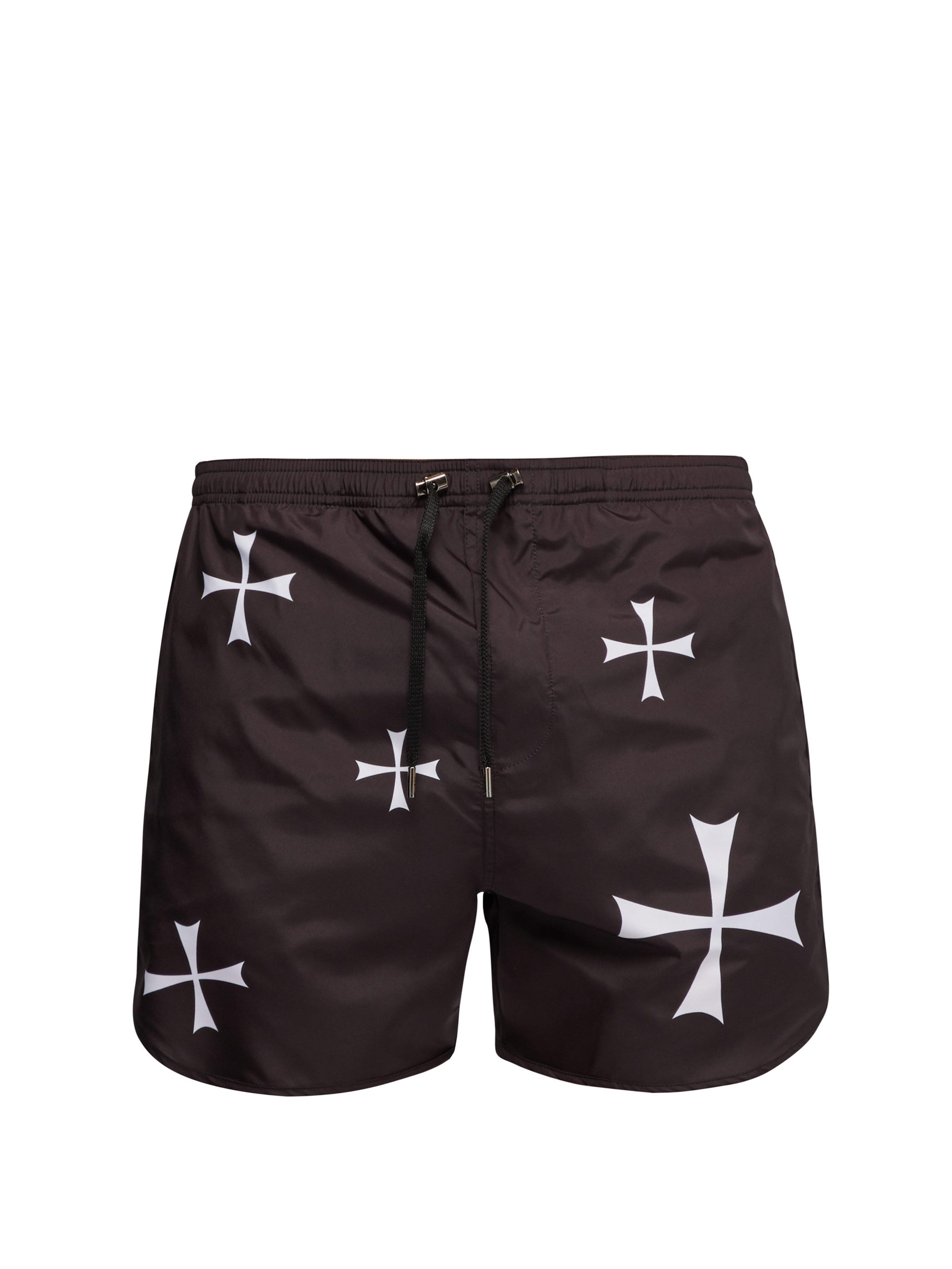 69b9bc94e1e22 Neil Barrett Cross Print Swim Shorts in Black for Men - Lyst