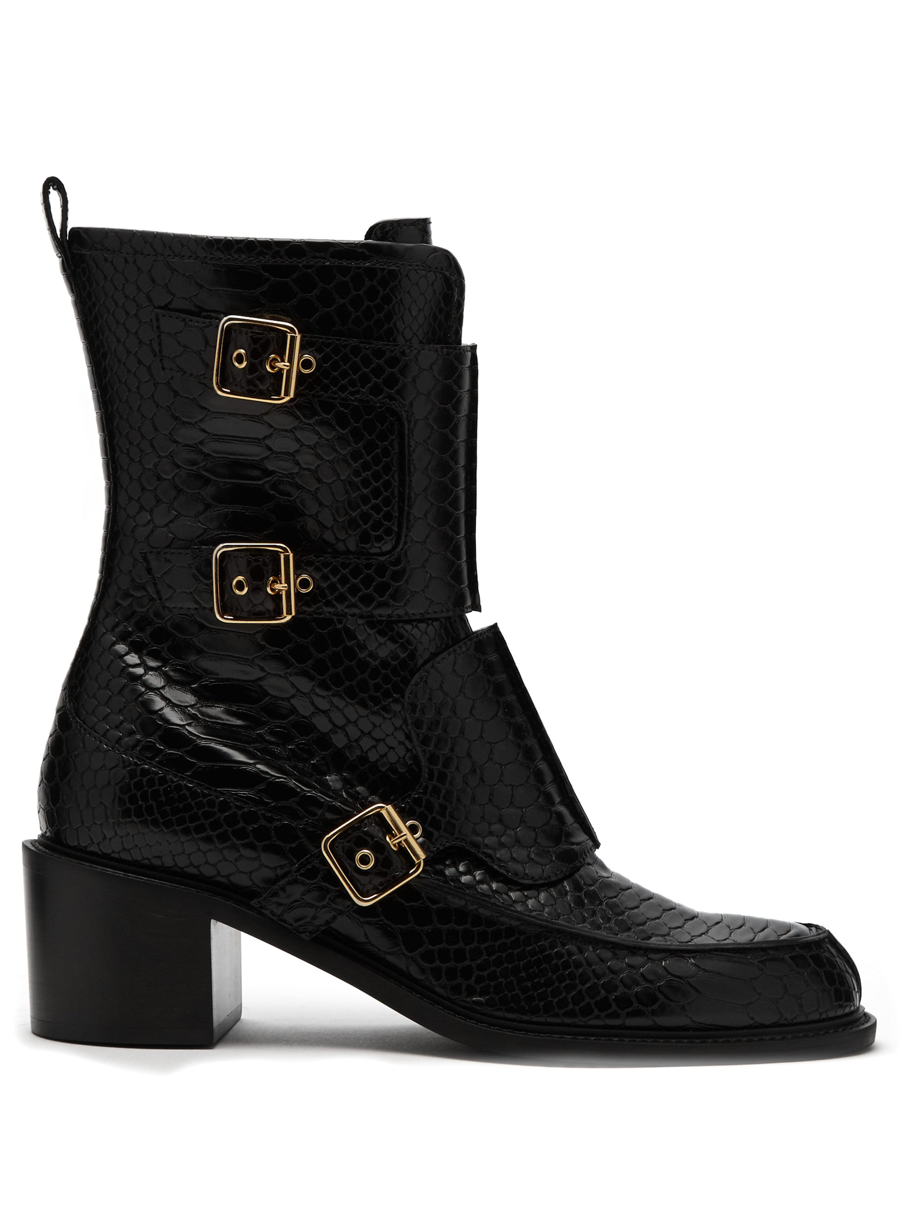 6120211b7d5 Stella McCartney Crocodile Effect Faux Leather Boots in Black - Save ...