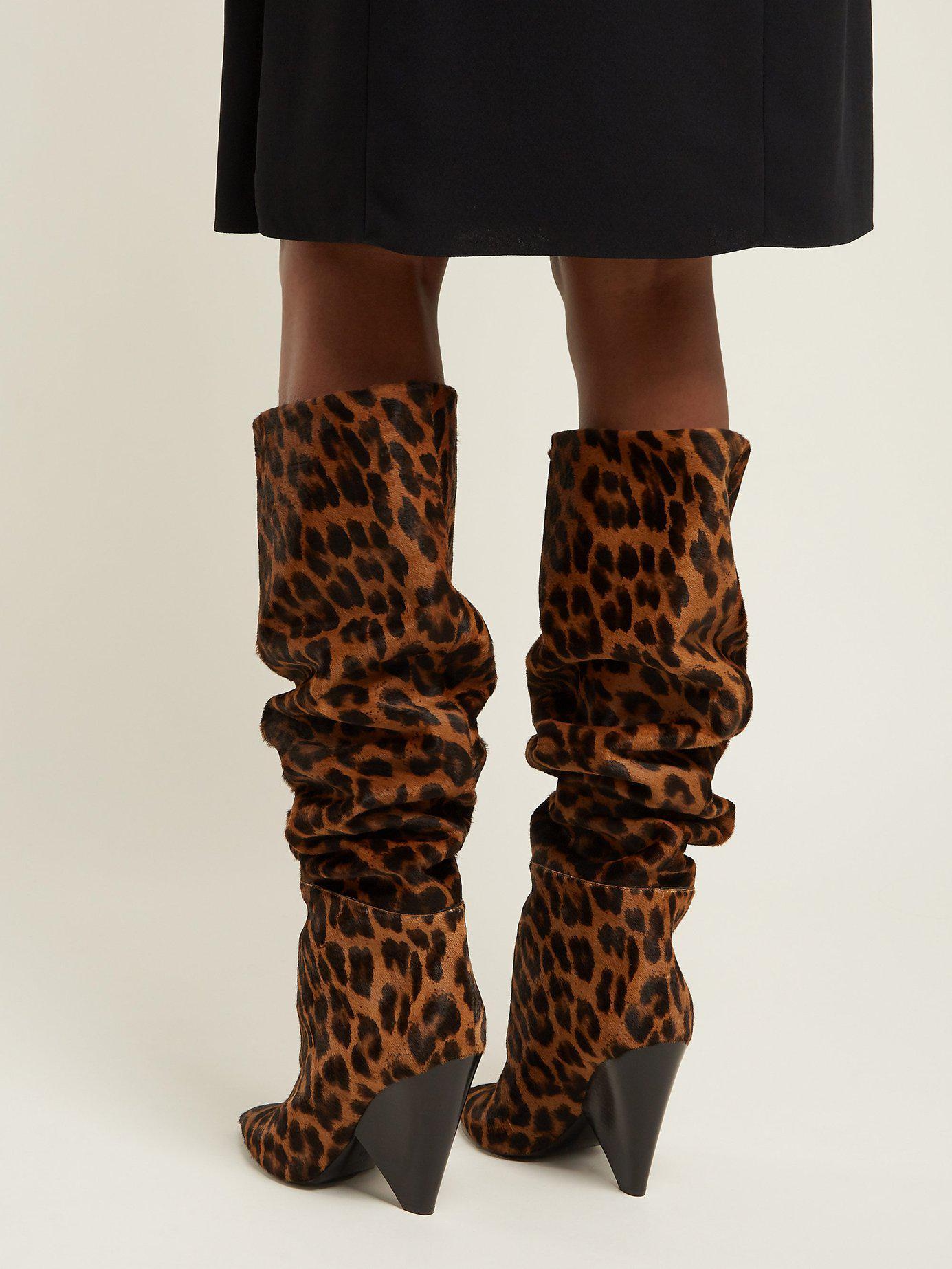 940105bfd44d5 Saint Laurent - Brown Niki Leopard Print Knee High Calf Hair Boots - Lyst.  View fullscreen
