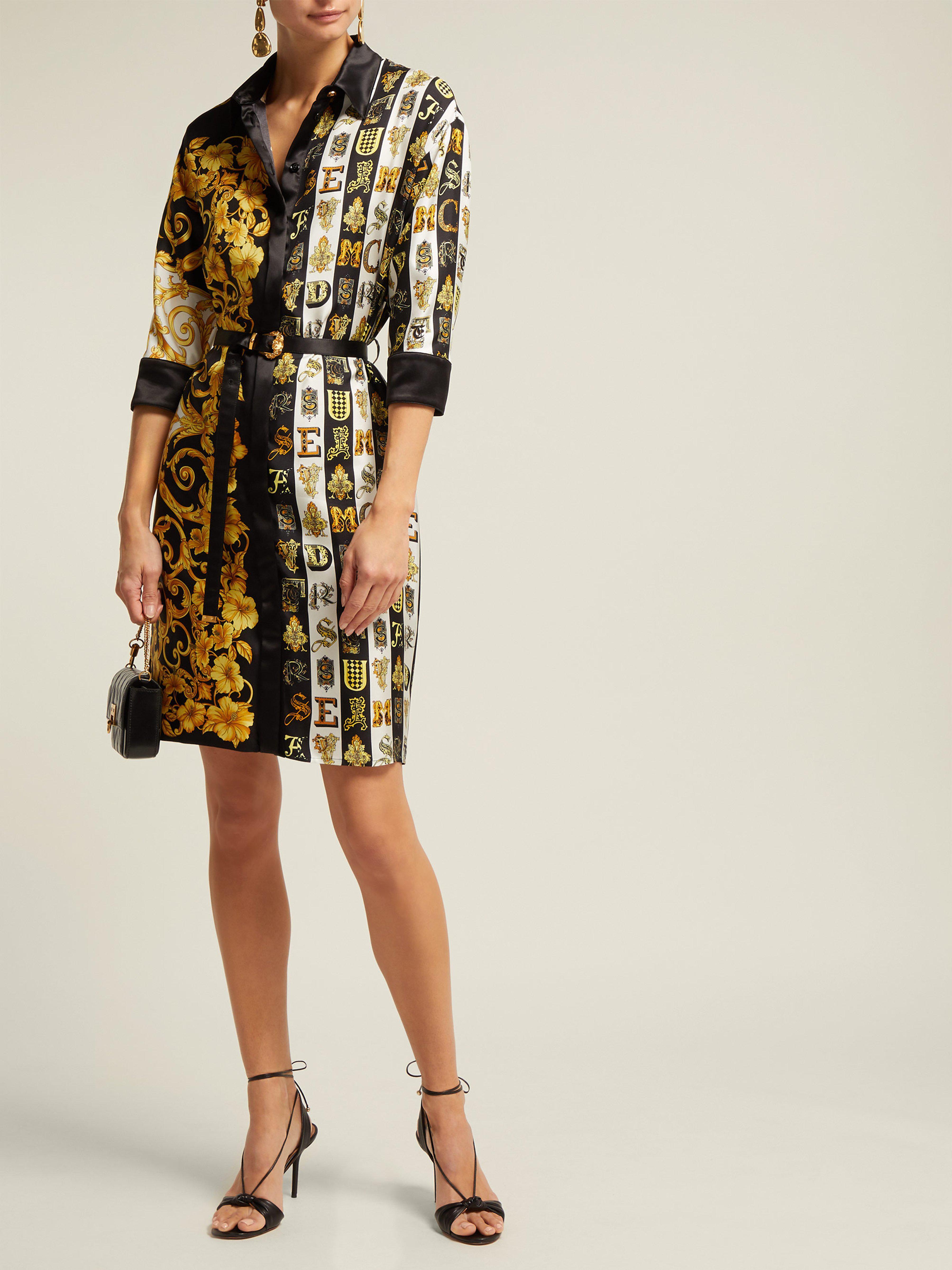 0590d537764 Versace Baroque Print Silk Twill Shirtdress - Lyst