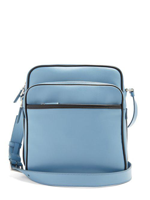 7b2512c4eb Prada Calf-leather Messenger Bag in Blue for Men - Lyst