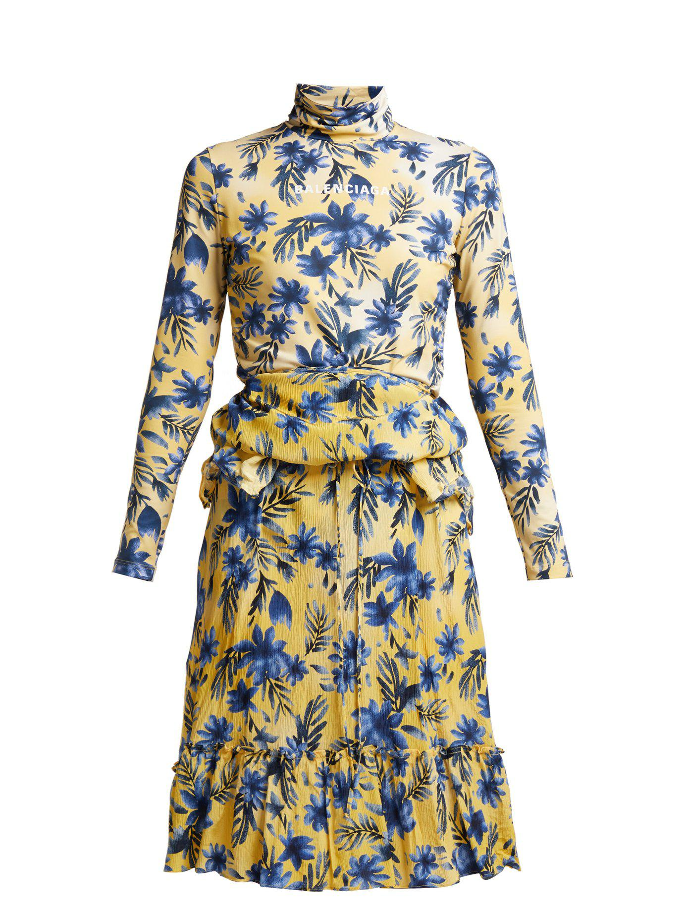 e9b48ed0c911 Lyst - Balenciaga Floral Print Stretch Jersey And Silk Crepe Dress ...