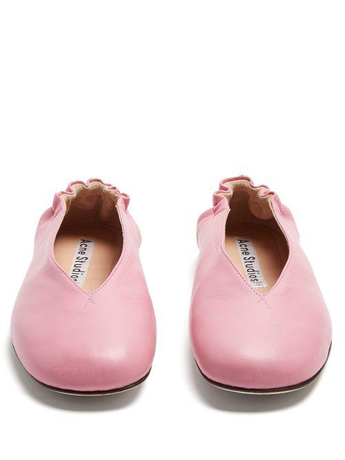 ad7f8e650e0f Lyst - Acne Studios Oddry Elasticated-heel Leather Ballet Flats in Pink