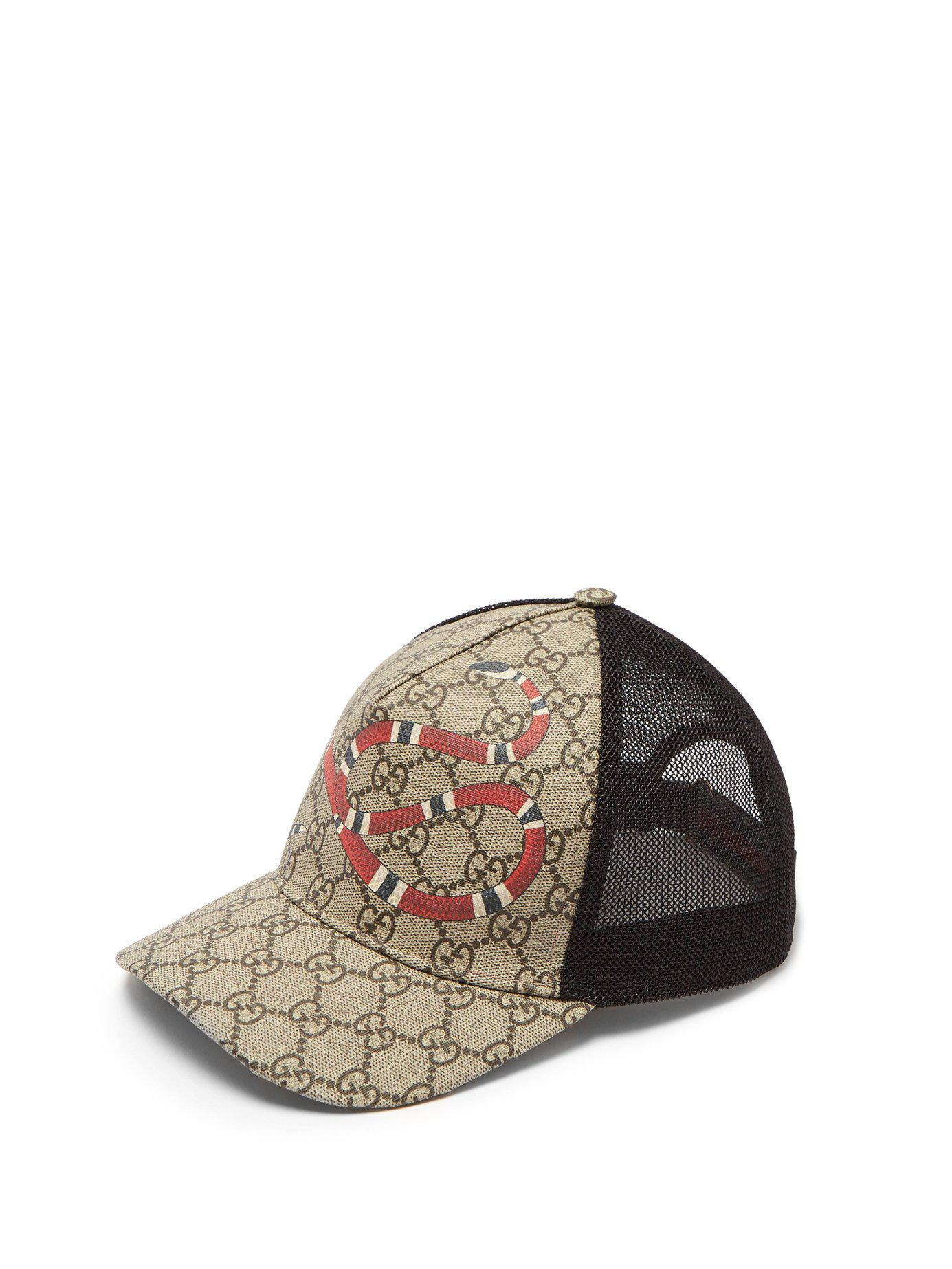 438aecd59e140 Gucci Gg Supreme And Kingsnake Print Mesh Cap in Natural for Men - Lyst