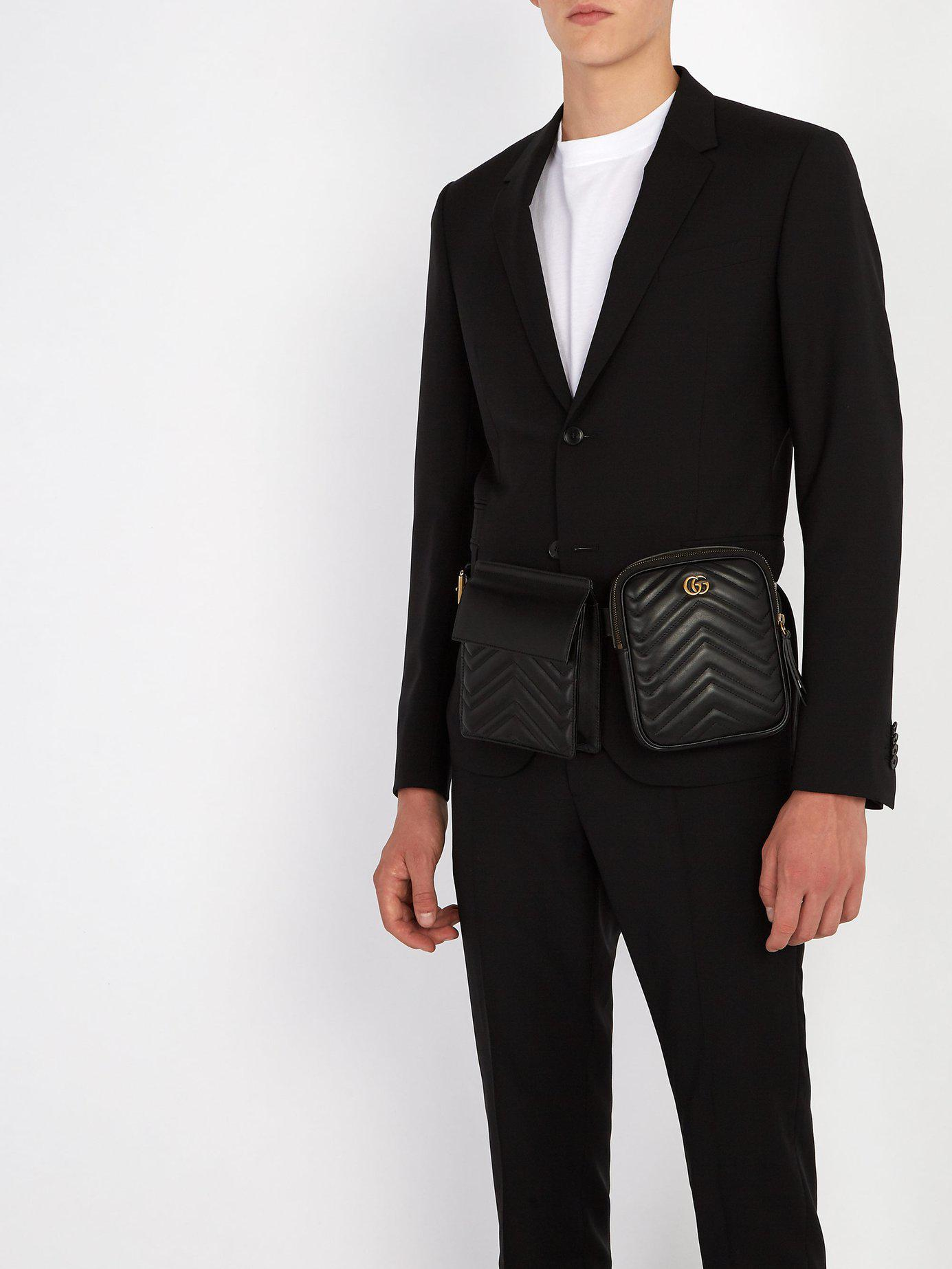 85604dc02fc Gucci Gg Marmont Leather Belt Bag in Black for Men - Lyst