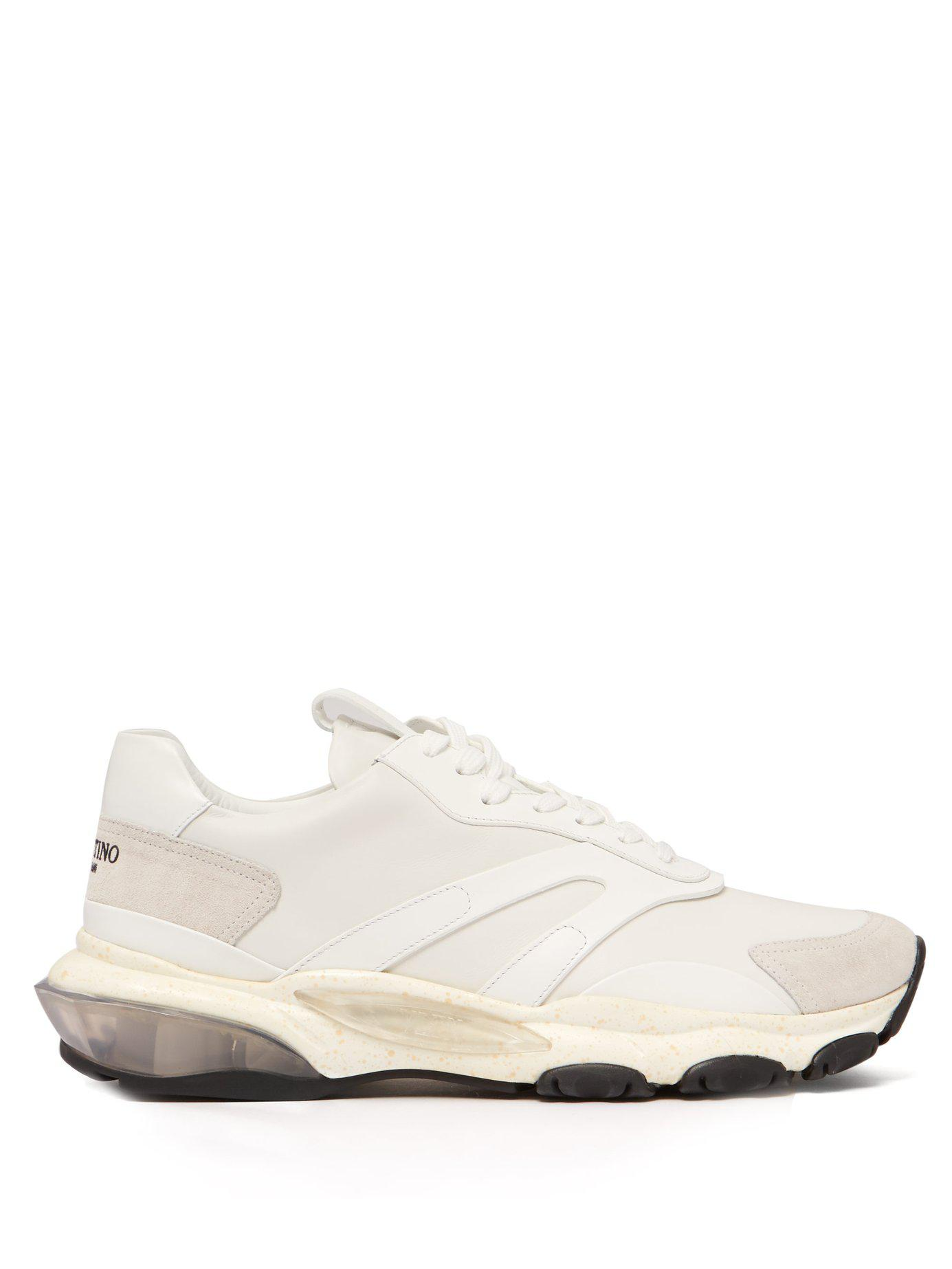 5b3ce3dc4 Lyst - Valentino Bounce Raised Sole Low Top Trainers in White for Men