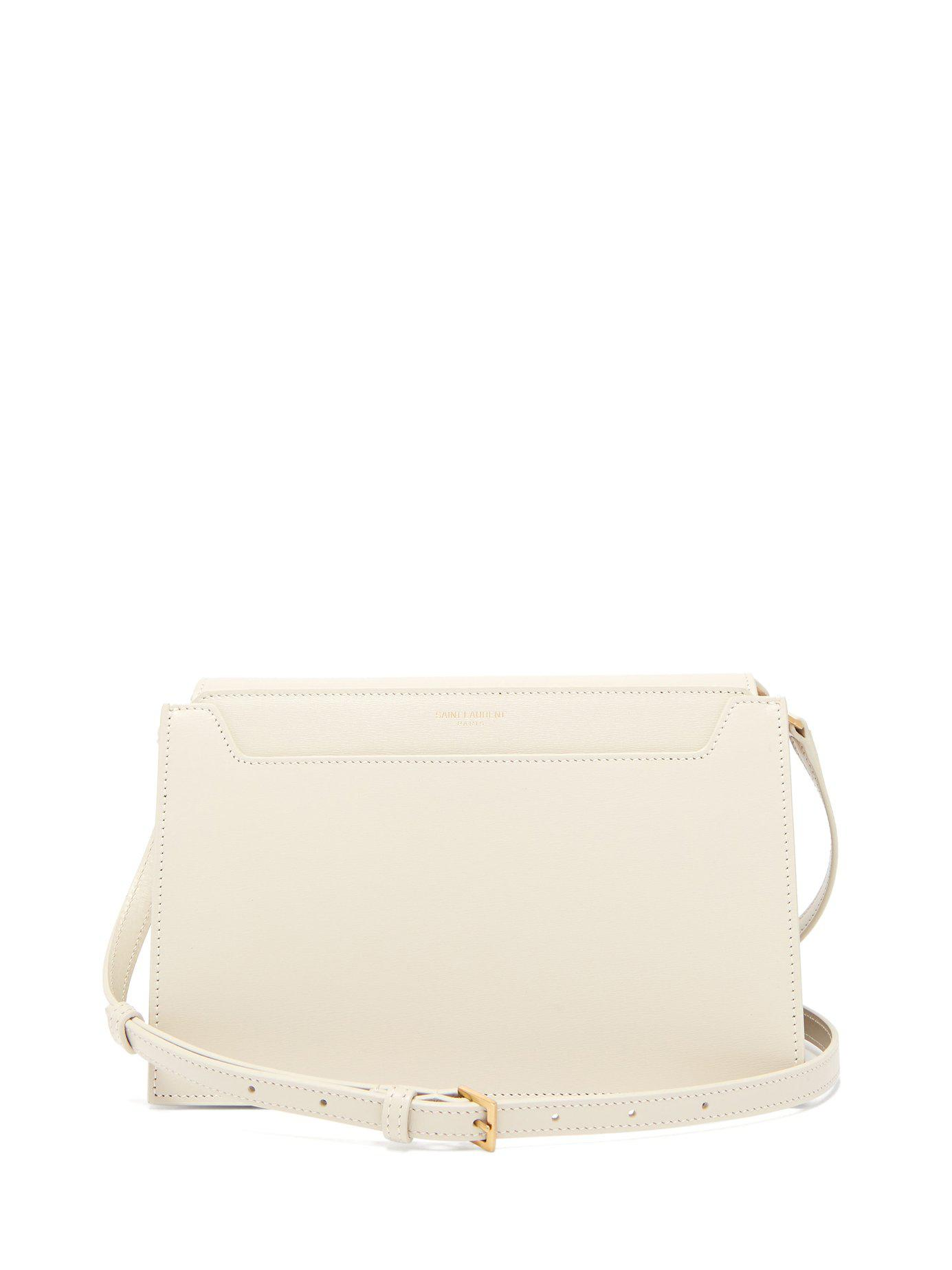 640981afe4 Lyst - Saint Laurent Catherine Leather Cross Body Bag in White