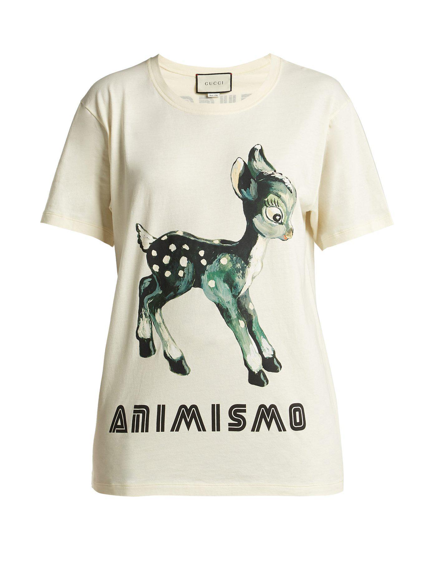 77ebc2a6ef7 Gucci - White Animismo Print Cotton T Shirt - Lyst. View fullscreen
