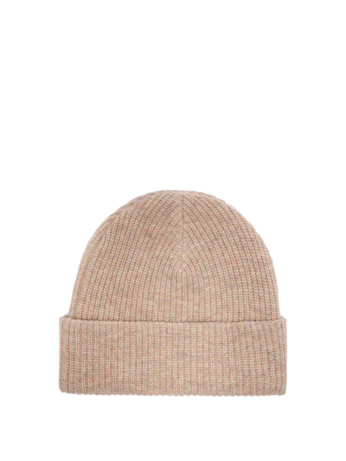 Lyst - Ganni Hatley Wool Blend Beanie Hat in Natural cc7ec782e3b7