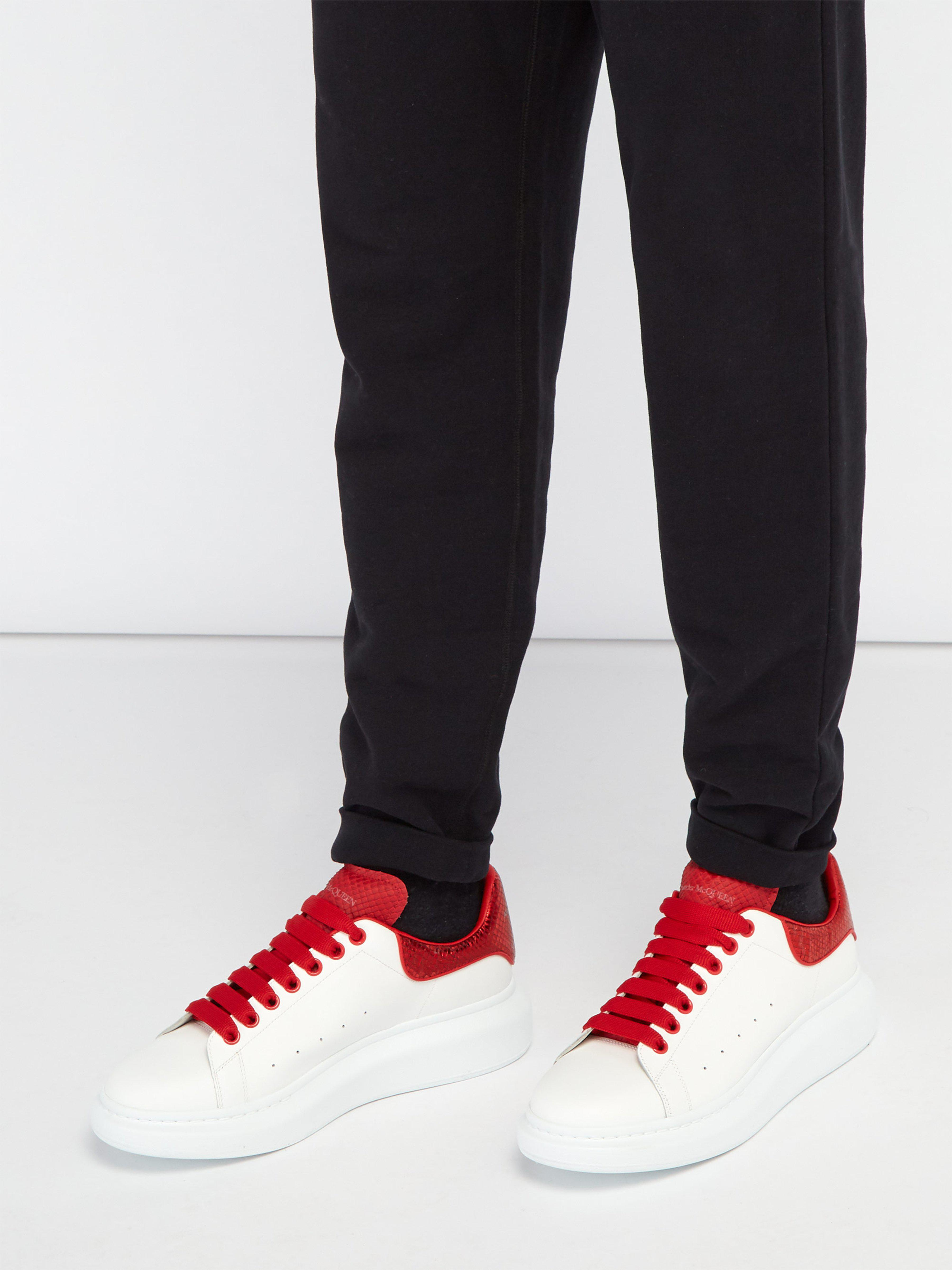 7037a7595a7a Alexander McQueen Raised Sole Low Top Leather Trainers in Red for Men - Lyst