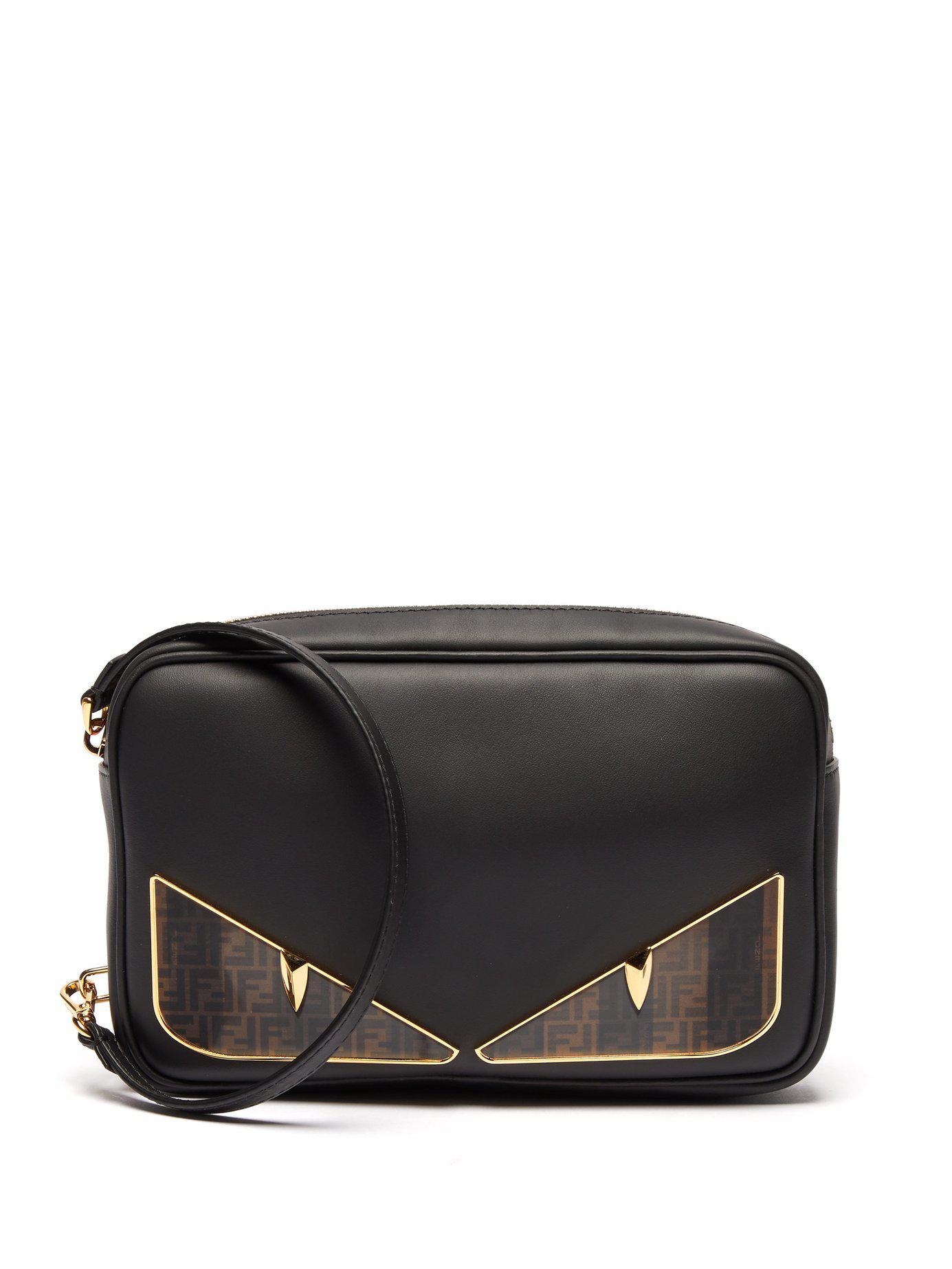 4254b89b743a Lyst - Fendi Bag Bugs Logo Eyes Leather Camera Bag in Black for Men ...
