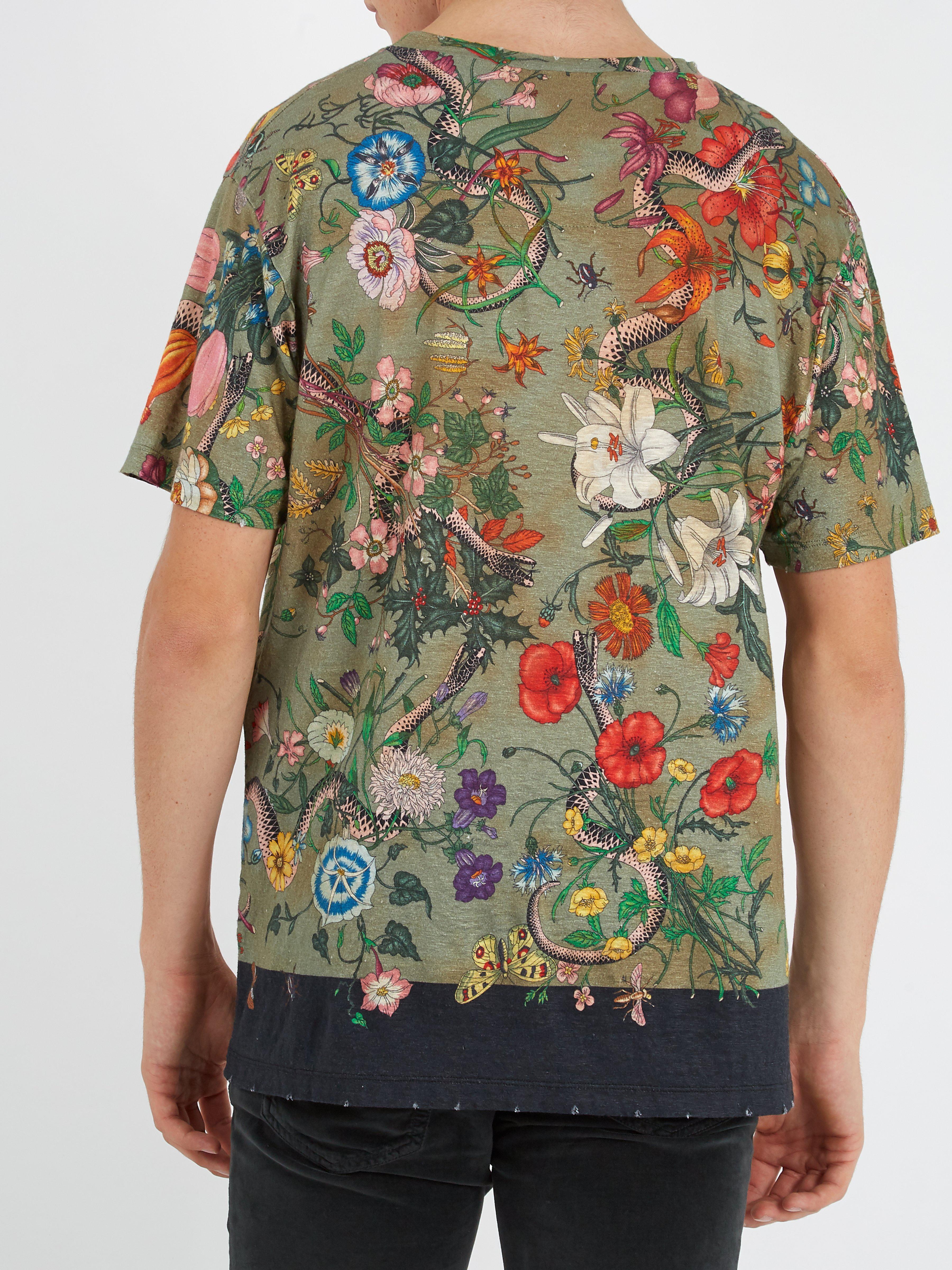 2a0913b7c Gucci Flora Snake-print Linen-jersey T-shirt in Green for Men - Lyst
