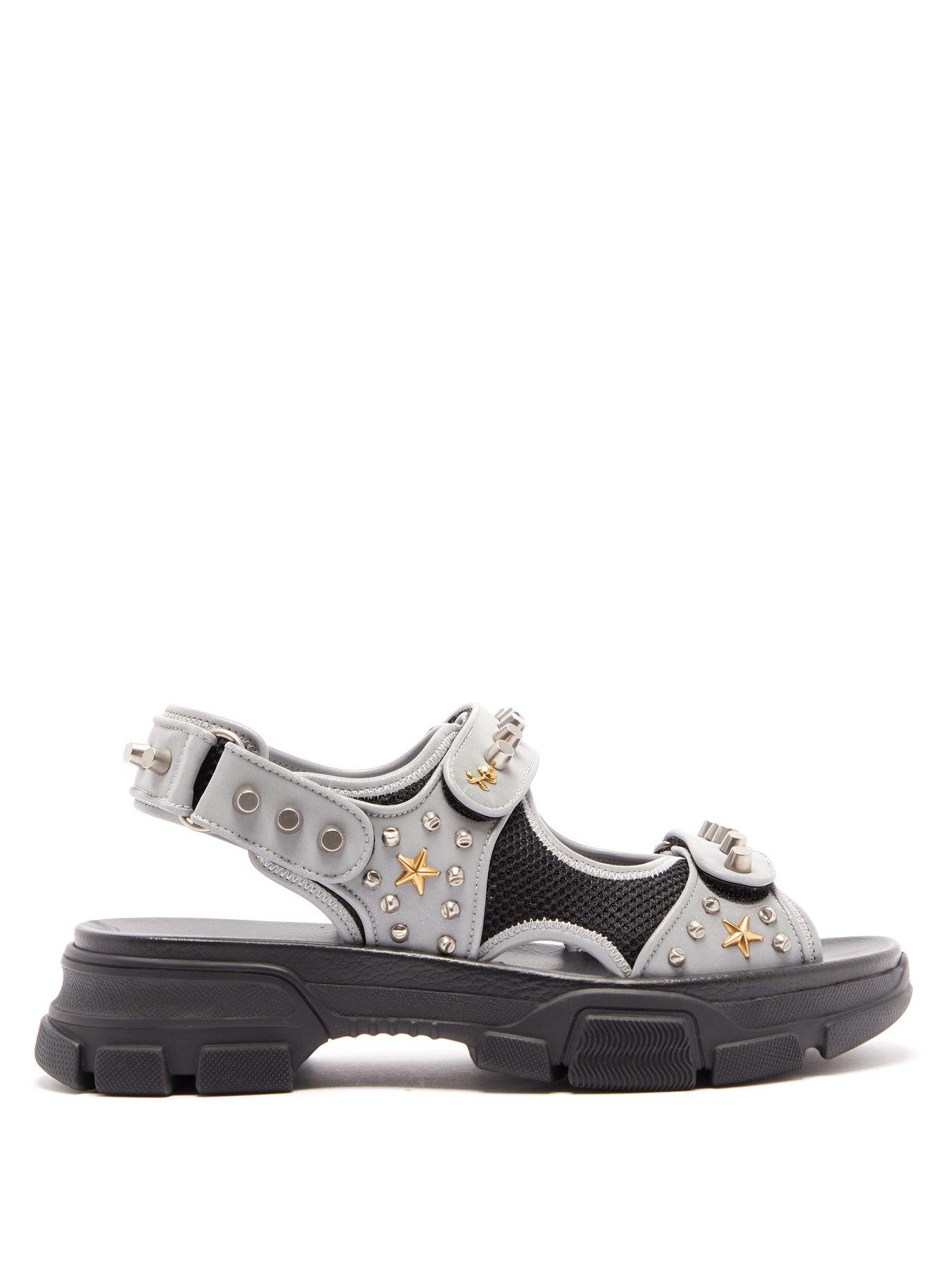 9a9cdd54d Lyst - Gucci Stud Embellished Leather Sandals in Gray for Men