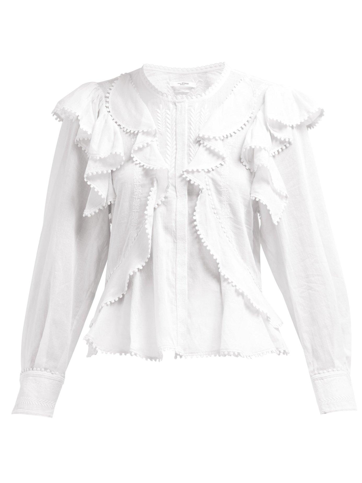 a9e6a6be7bd00 Lyst - Étoile Isabel Marant Alea Ruffled Cotton Blouse in White