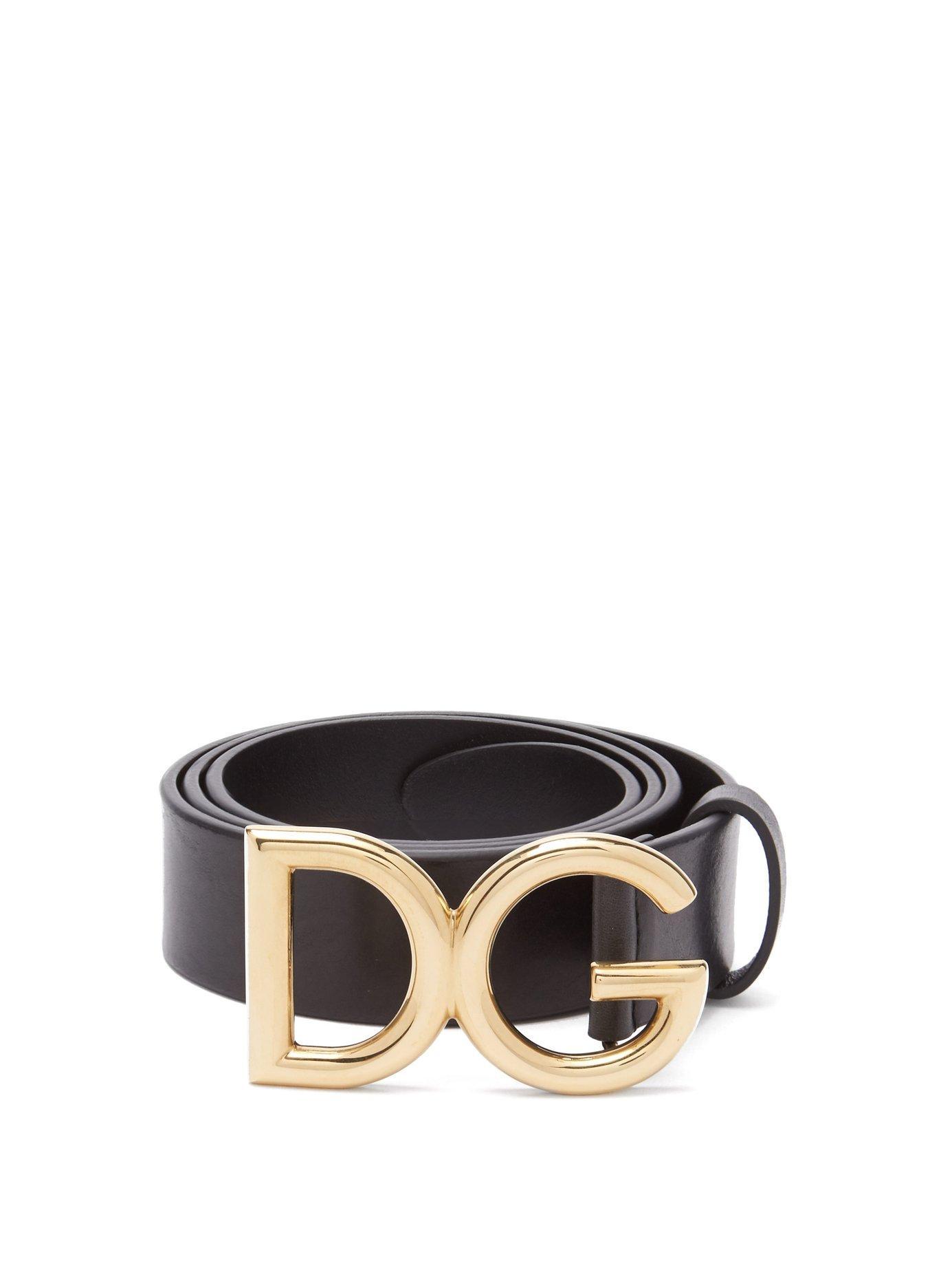 Lyst - Dolce   Gabbana Dg Buckle Leather Belt in Black for Men 3855b6078c7eb