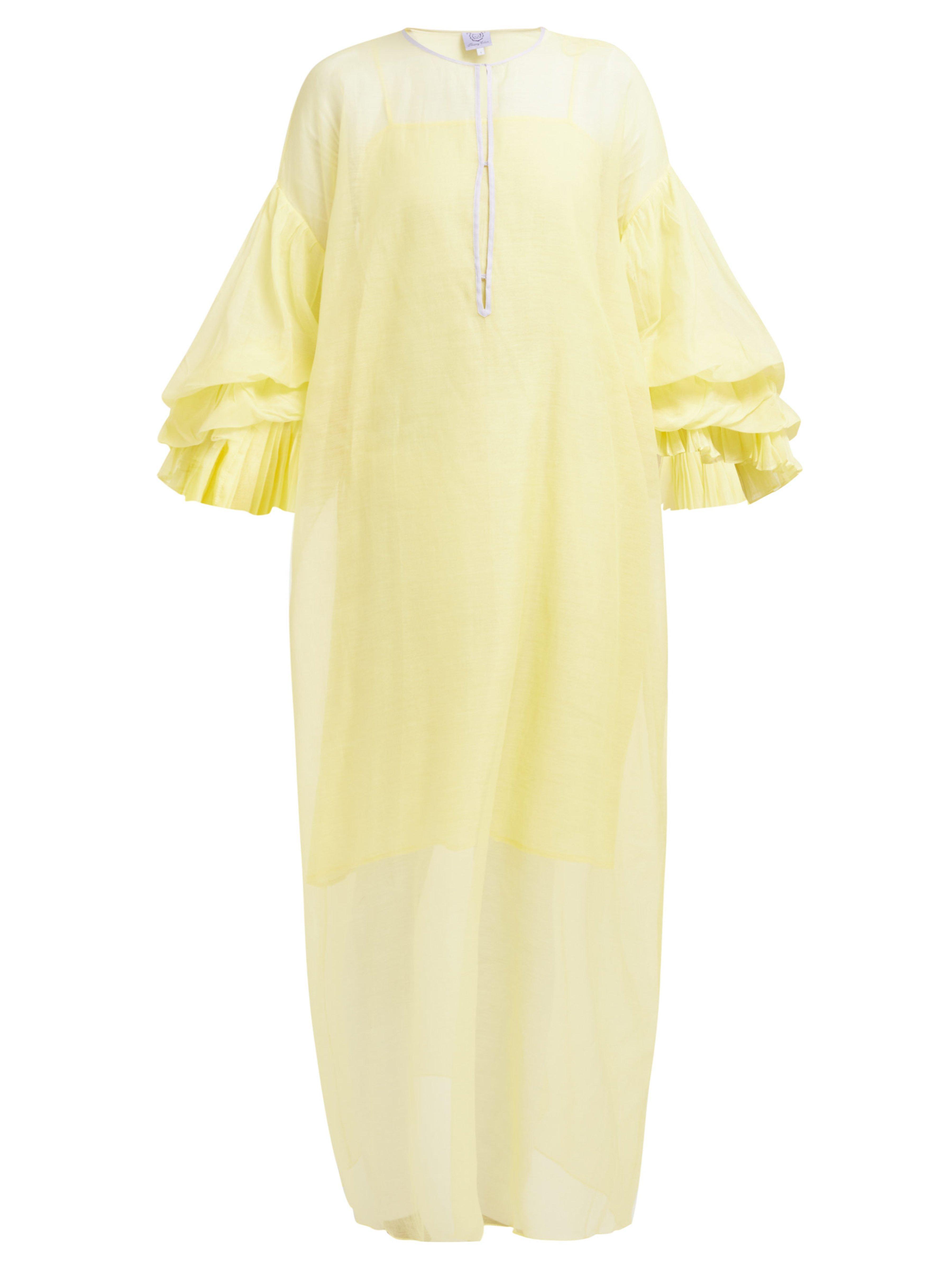 7956ff70bb Thierry Colson Tahara Cotton Blend Kaftan in Yellow - Lyst