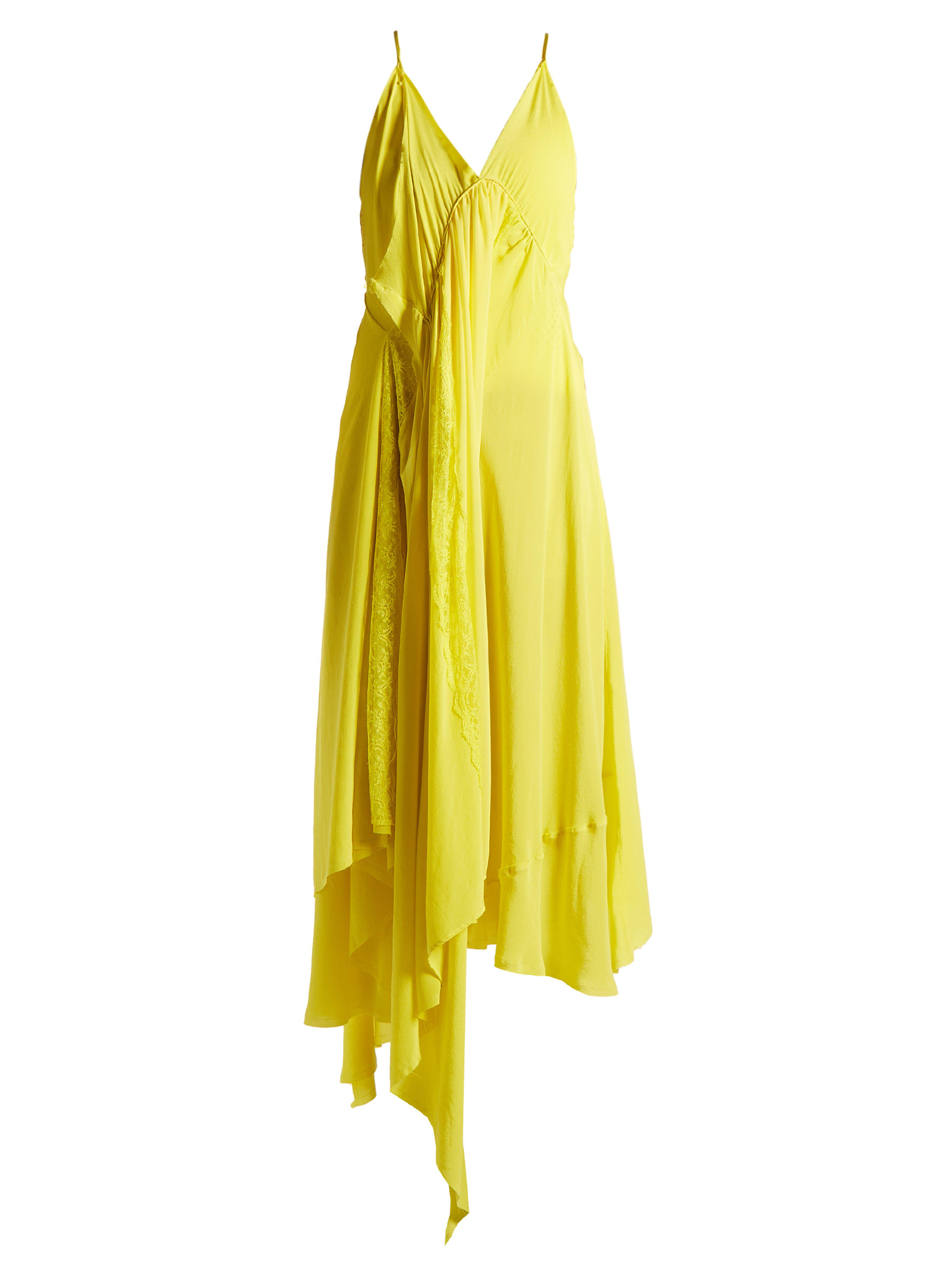 507e79f214c56 Balenciaga Round Neck Draped Silk Crepe Dress in Yellow - Lyst