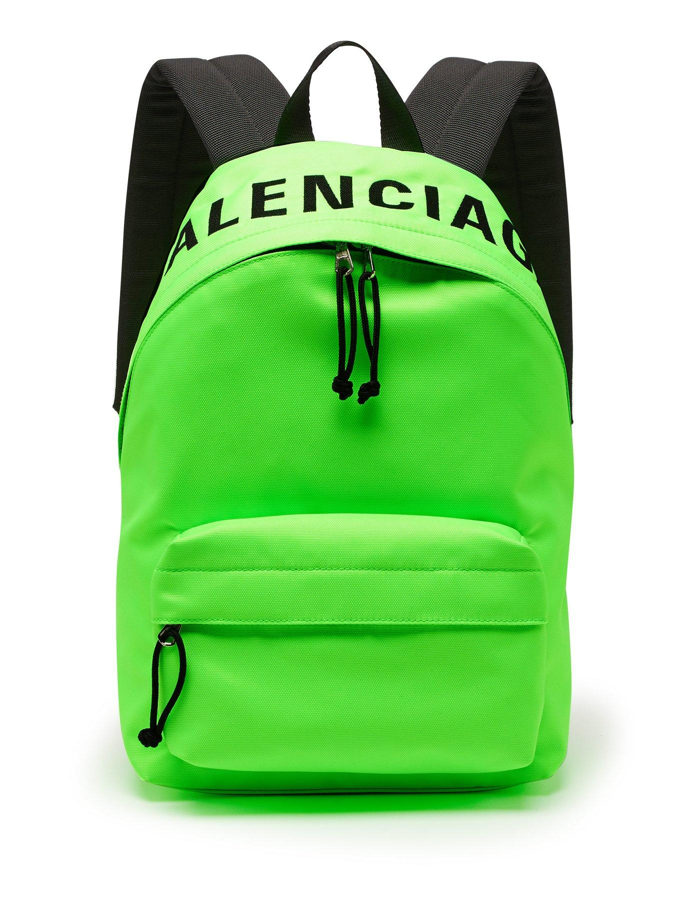 fdc6663c9a6de6 Lyst - Balenciaga Wheel Logo Embroidered Canvas Backback in Green