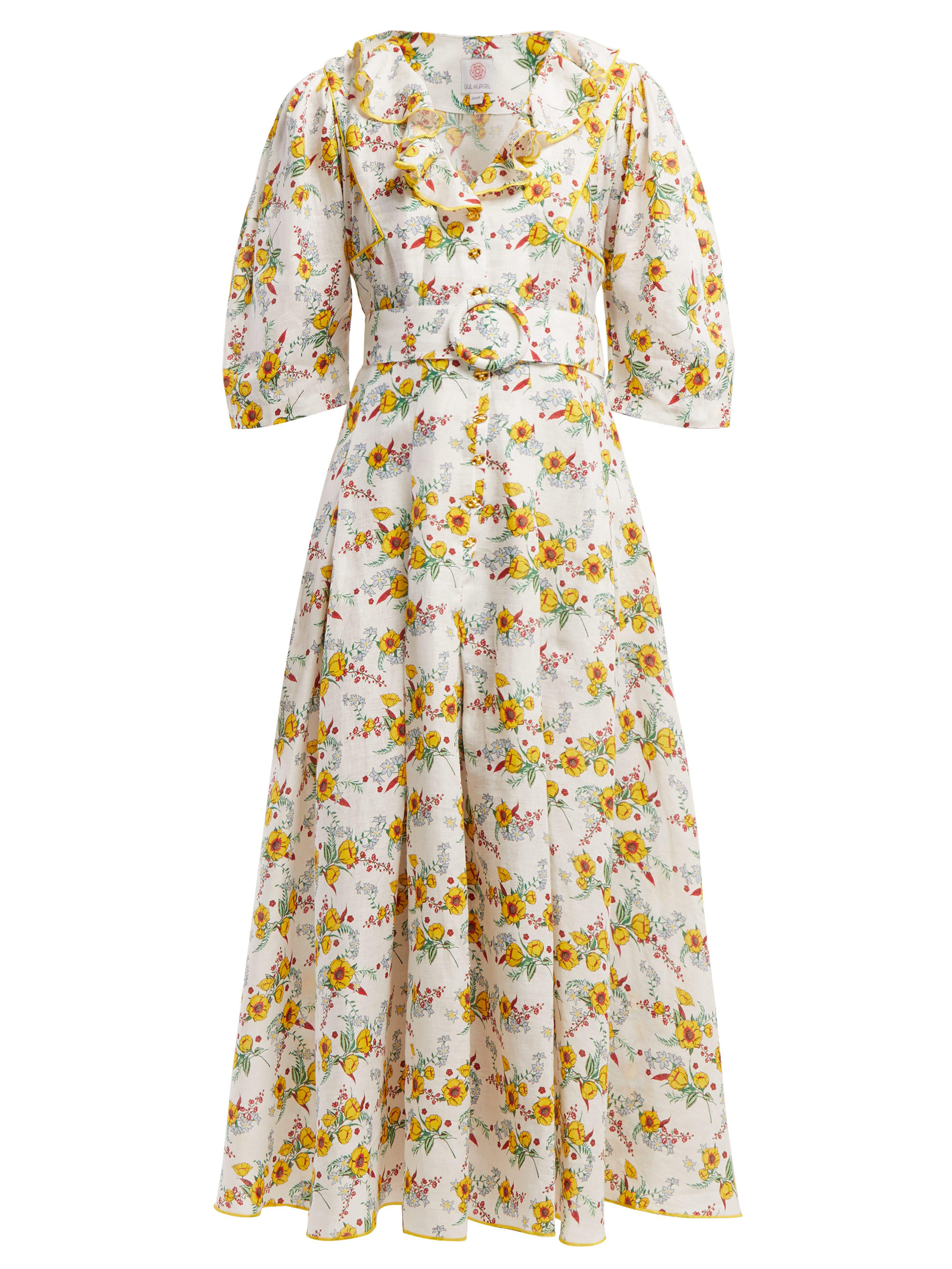 f35c910303 Gül Hürgel Floral Print Ruffle Linen Midi Dress in White - Lyst