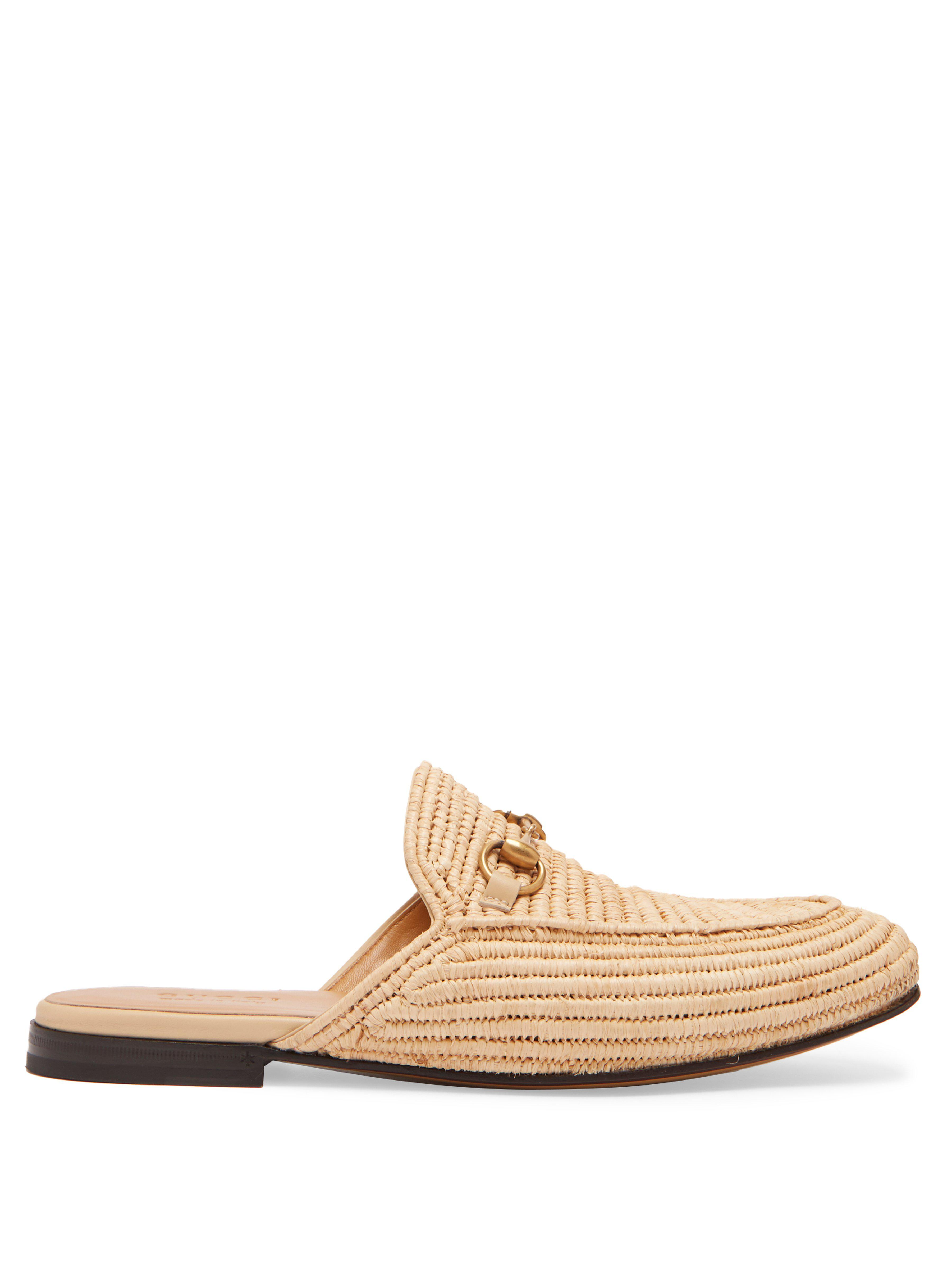 4b18f47a207 Gucci King Woven Straw Backless Loafers for Men - Lyst