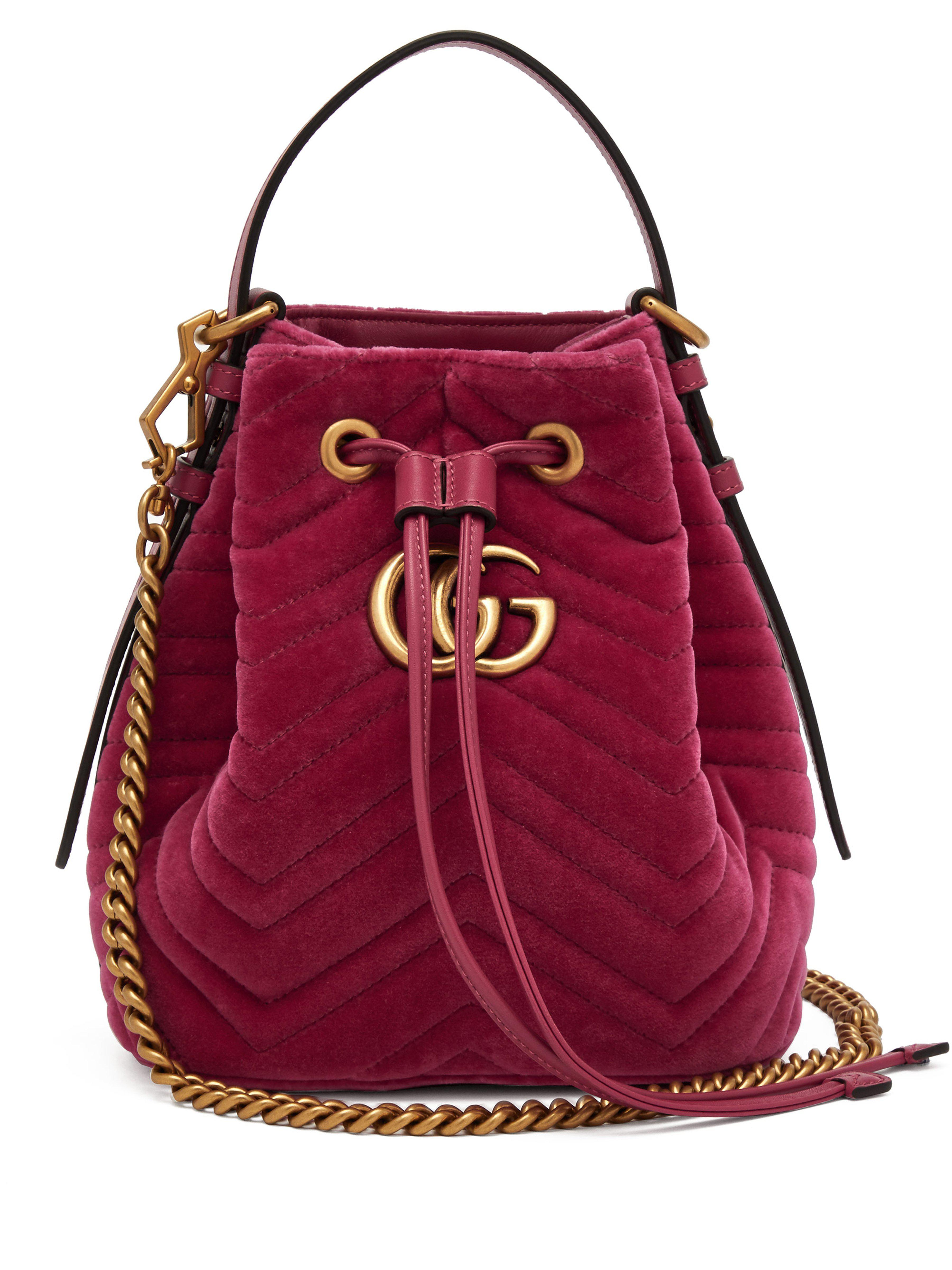 fccfe716793 Gucci Gg Marmont Quilted Velvet Drawstring Bucket Bag in Pink - Lyst