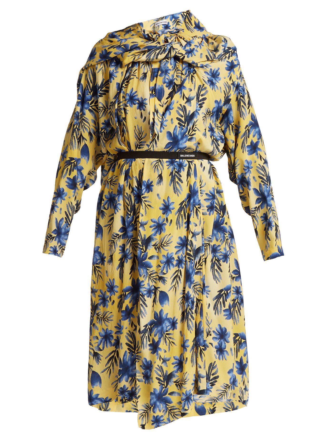 75baeb518c88 Balenciaga - Multicolor Floral Print Silk Dress - Lyst. View fullscreen