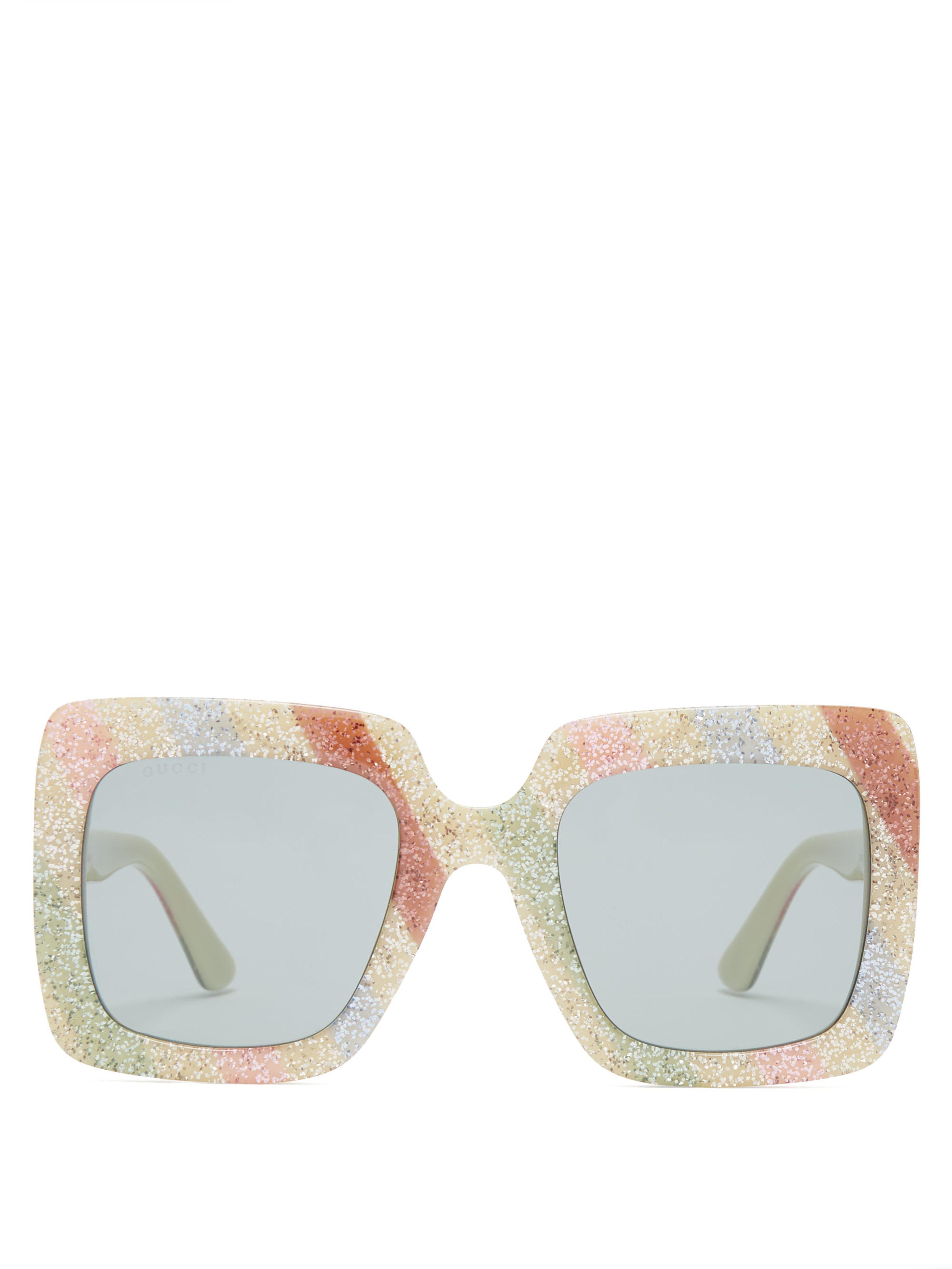 abb6cce6248 Gucci. Women s Glitter Stripe Square Frame Sunglasses