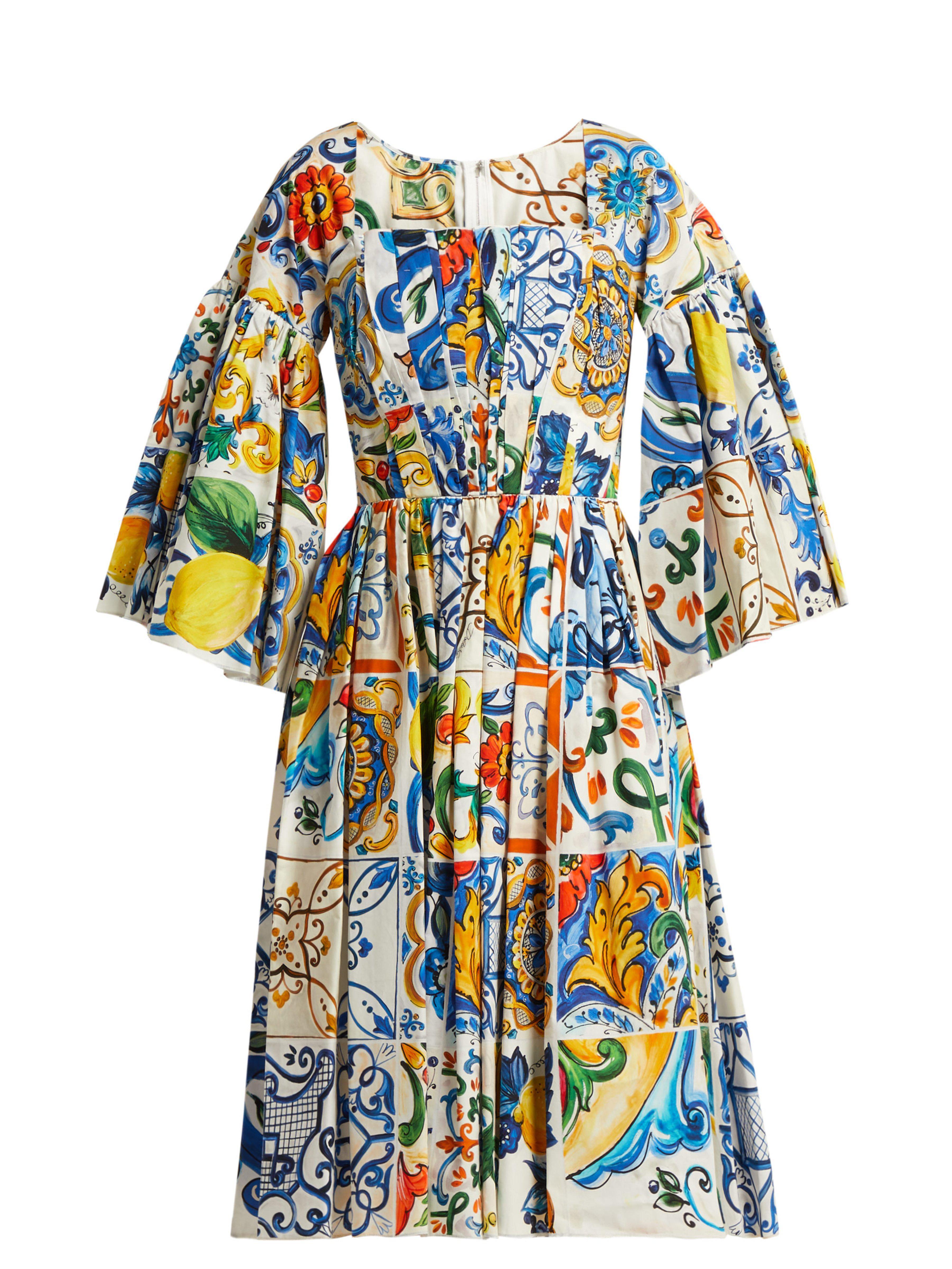 0abd5594c1a6 Dolce   Gabbana. Women s Blue Majolica Print Square Neck Cotton Poplin Dress