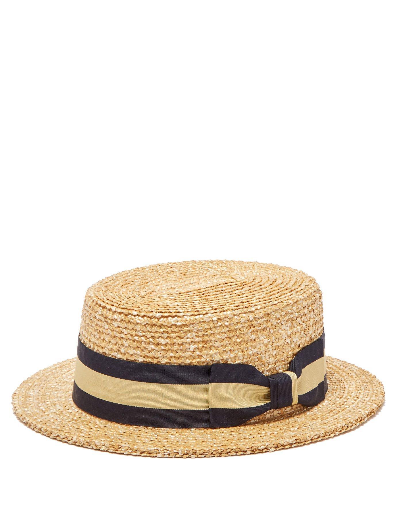6fdac781b19ea Lyst - Lock   Co. Barbershop Woven Straw Boater Hat in Brown for Men