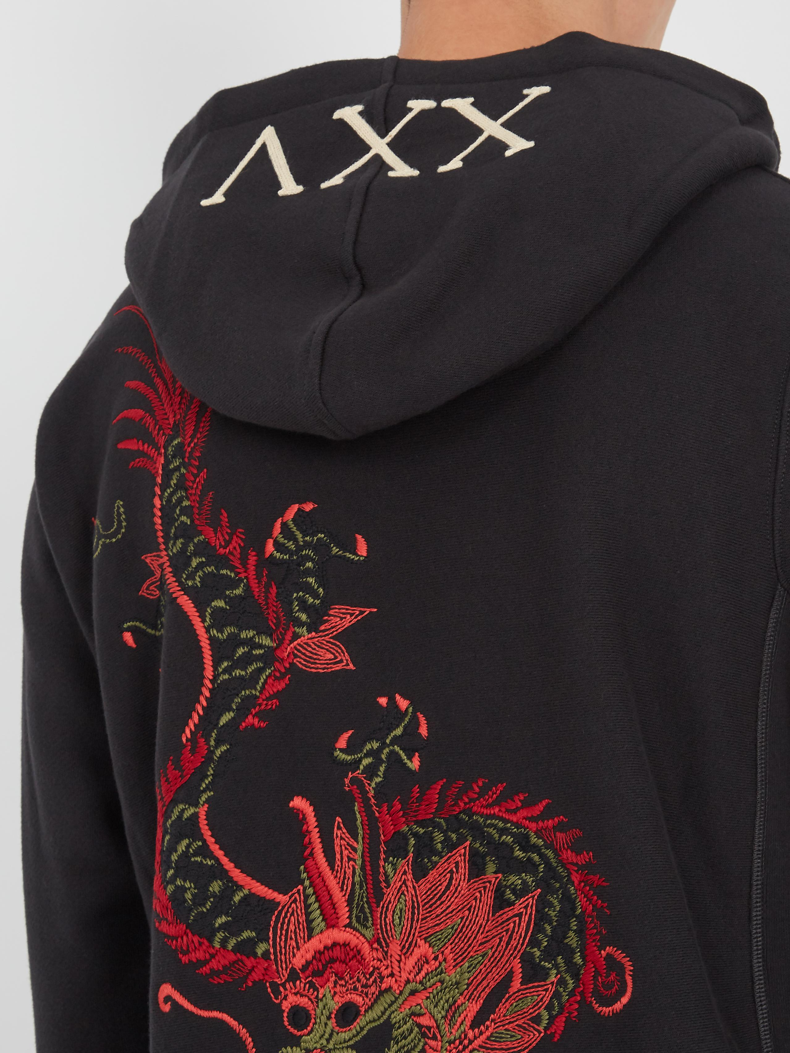 5e536bc57 Gucci Dragon-embroidered Hooded Sweatshirt in Black for Men - Lyst