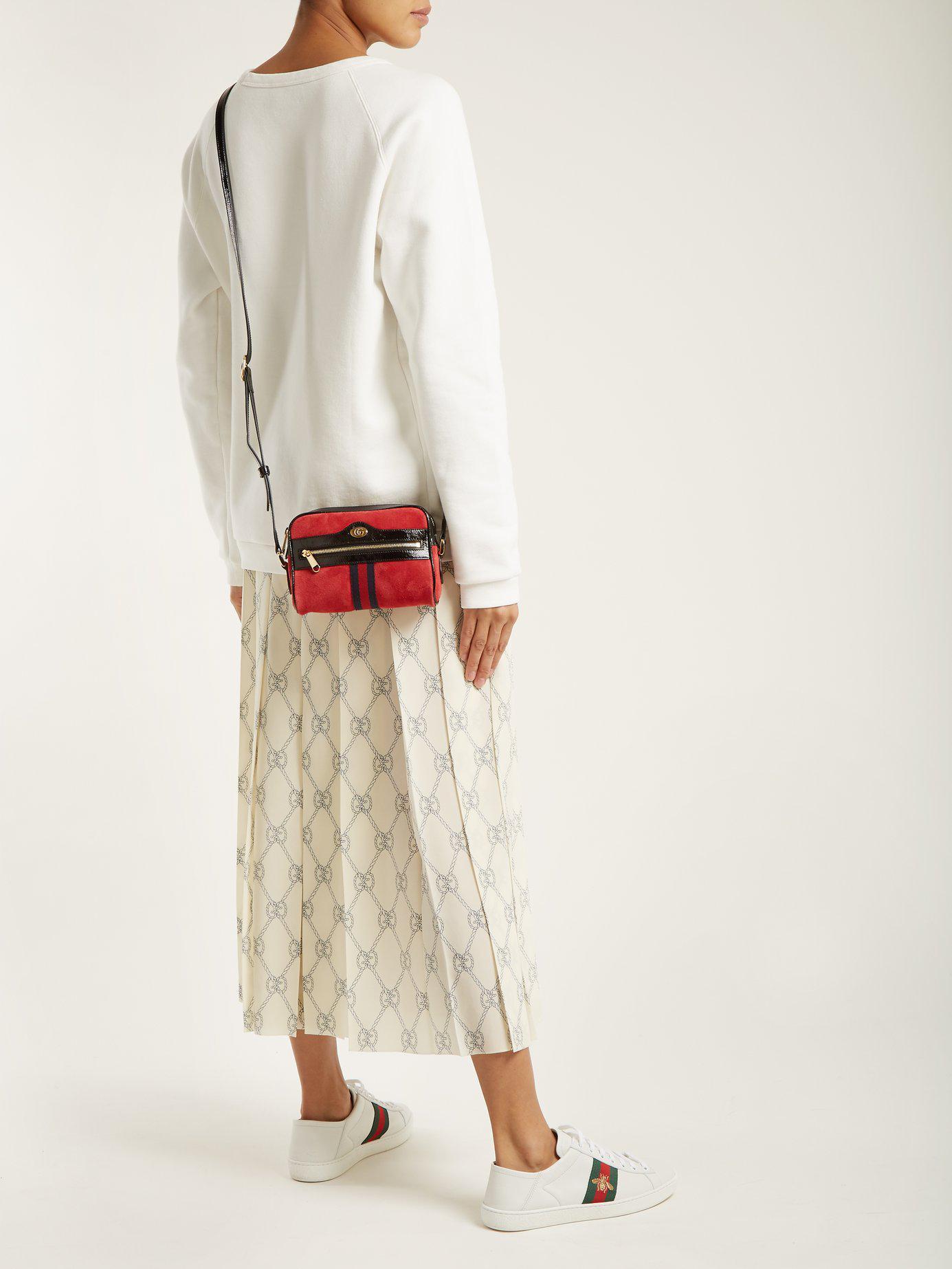 8a2a8390befc Gucci - Red Ophidia Mini Suede Cross Body Bag - Lyst. View fullscreen