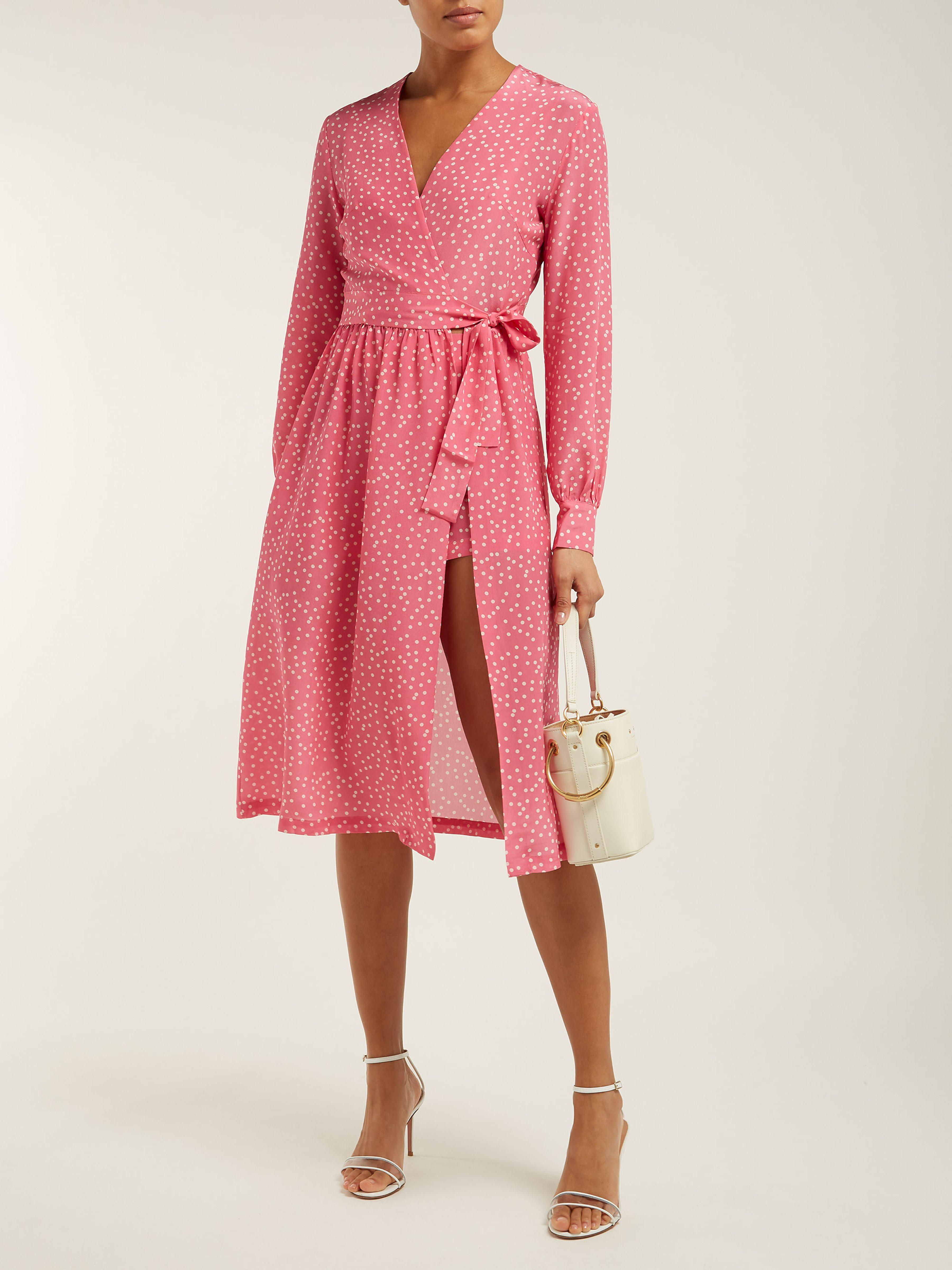 f6bb02c91123 Adriana Degreas Mille Punti Polka Dot Print Silk Crepe Wrap Dress in Pink -  Lyst