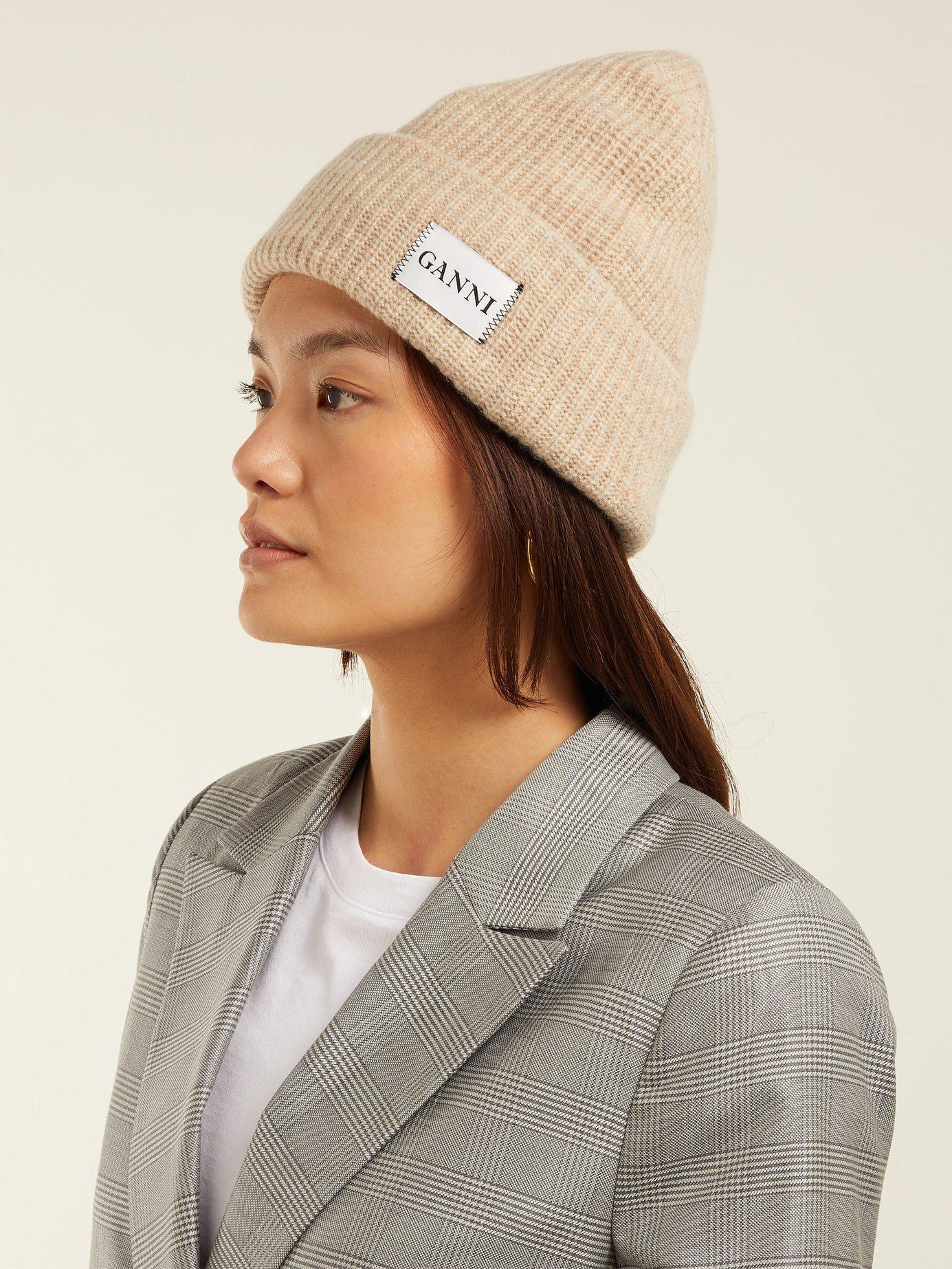 Lyst - Ganni Hatley Wool Blend Beanie Hat in Natural d9a9e0ff546