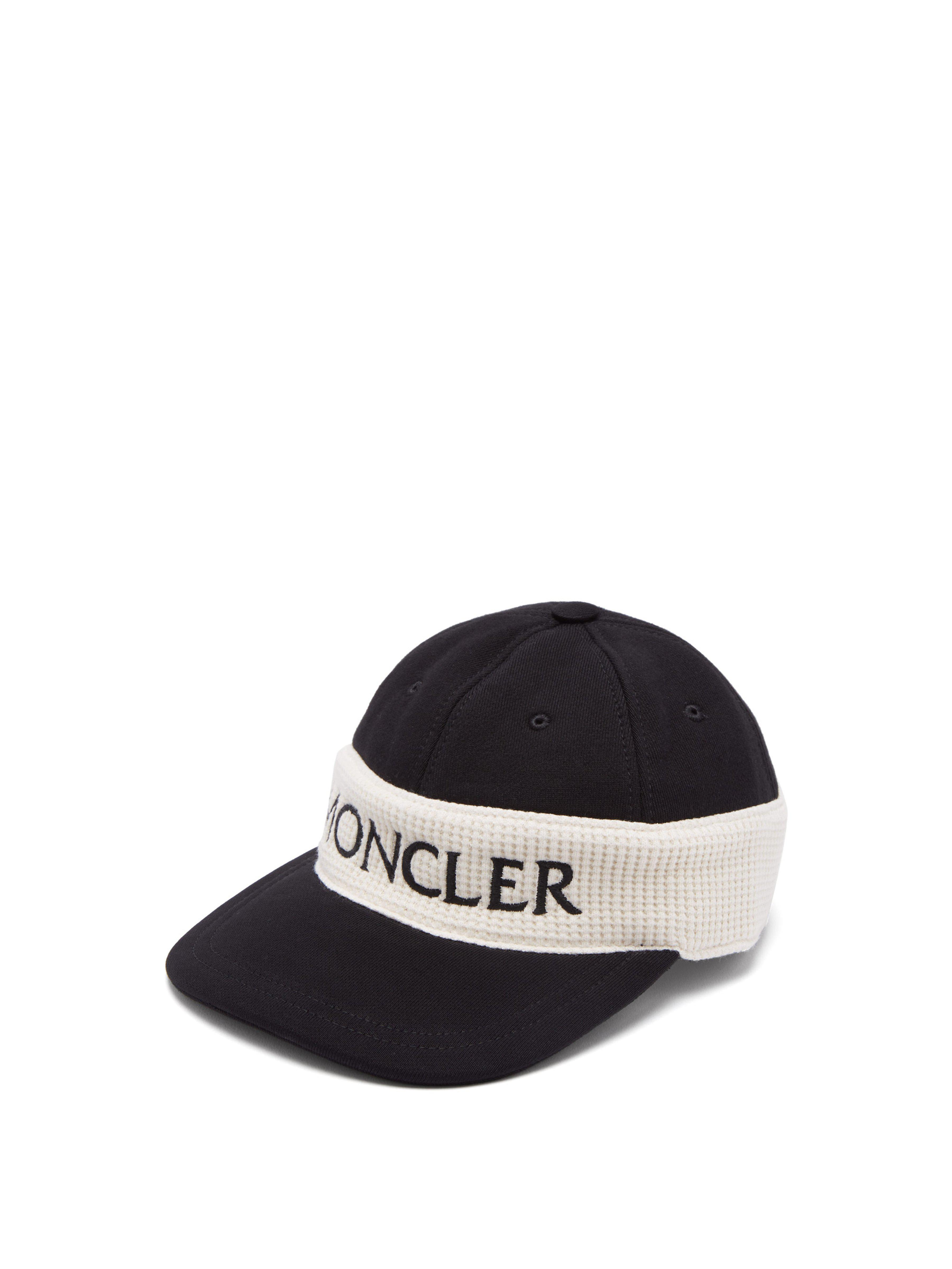 6cd5d60312a Moncler Fitted Logo Embroidered Cotton Cap for Men - Lyst