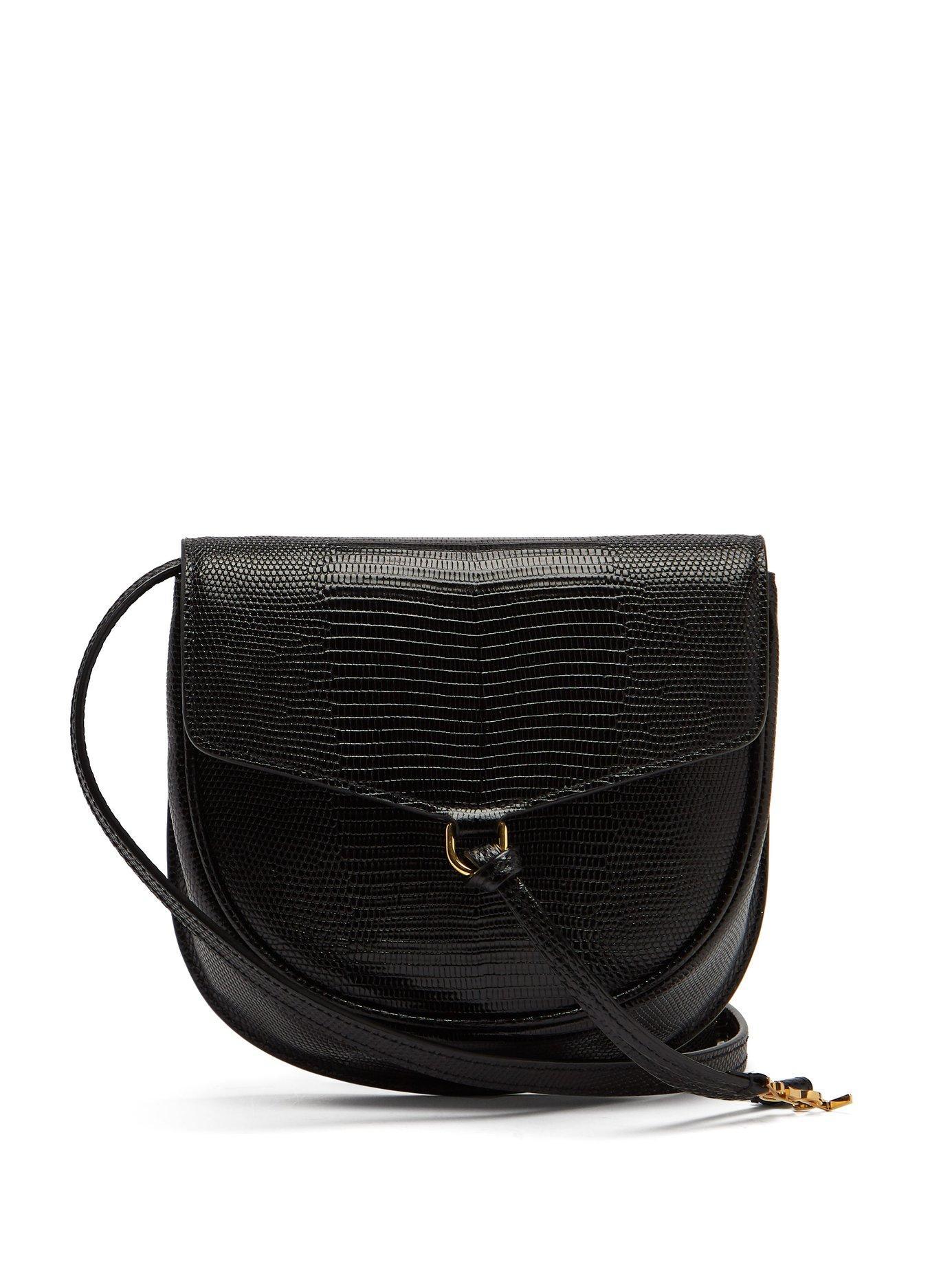 830073b3c1af Saint Laurent. Women s Black Datcha Lizard Effect Leather Cross Body Bag
